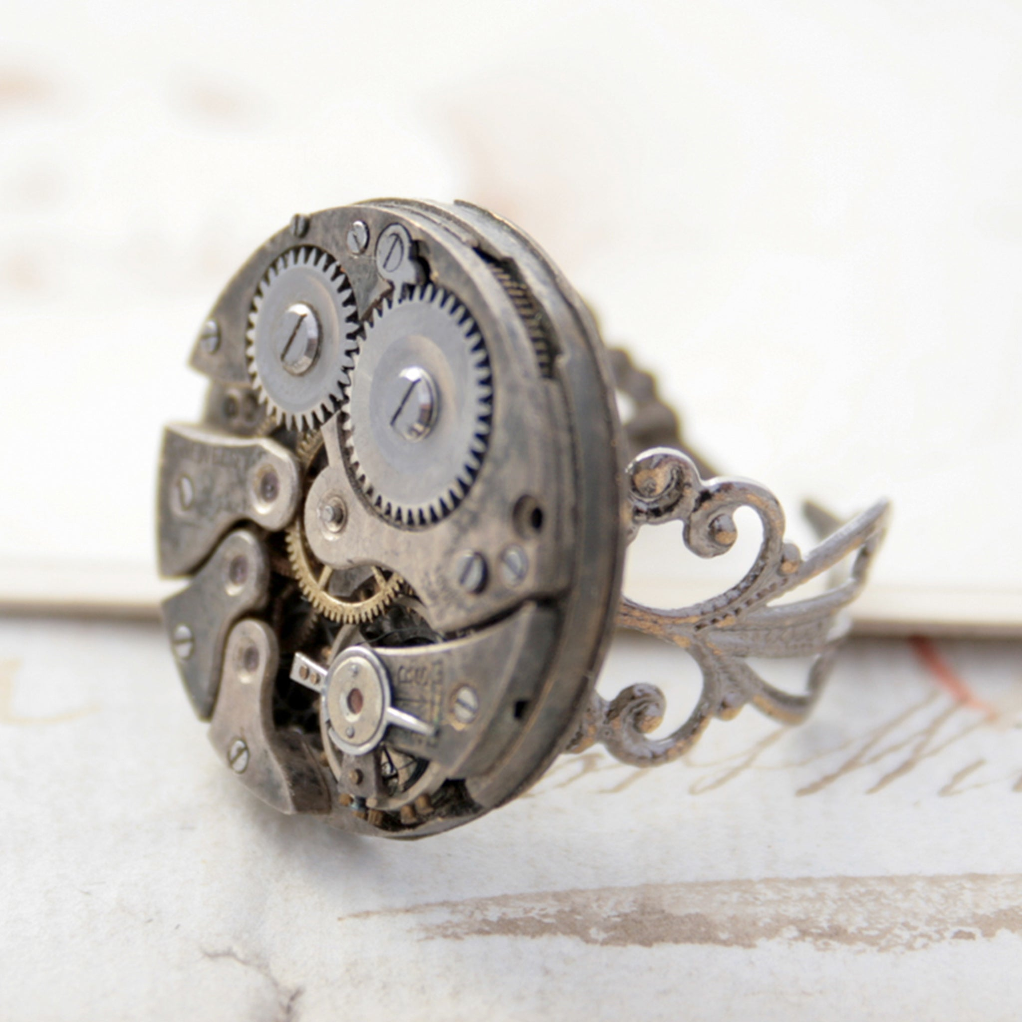 Gothic Ring with Watch Work