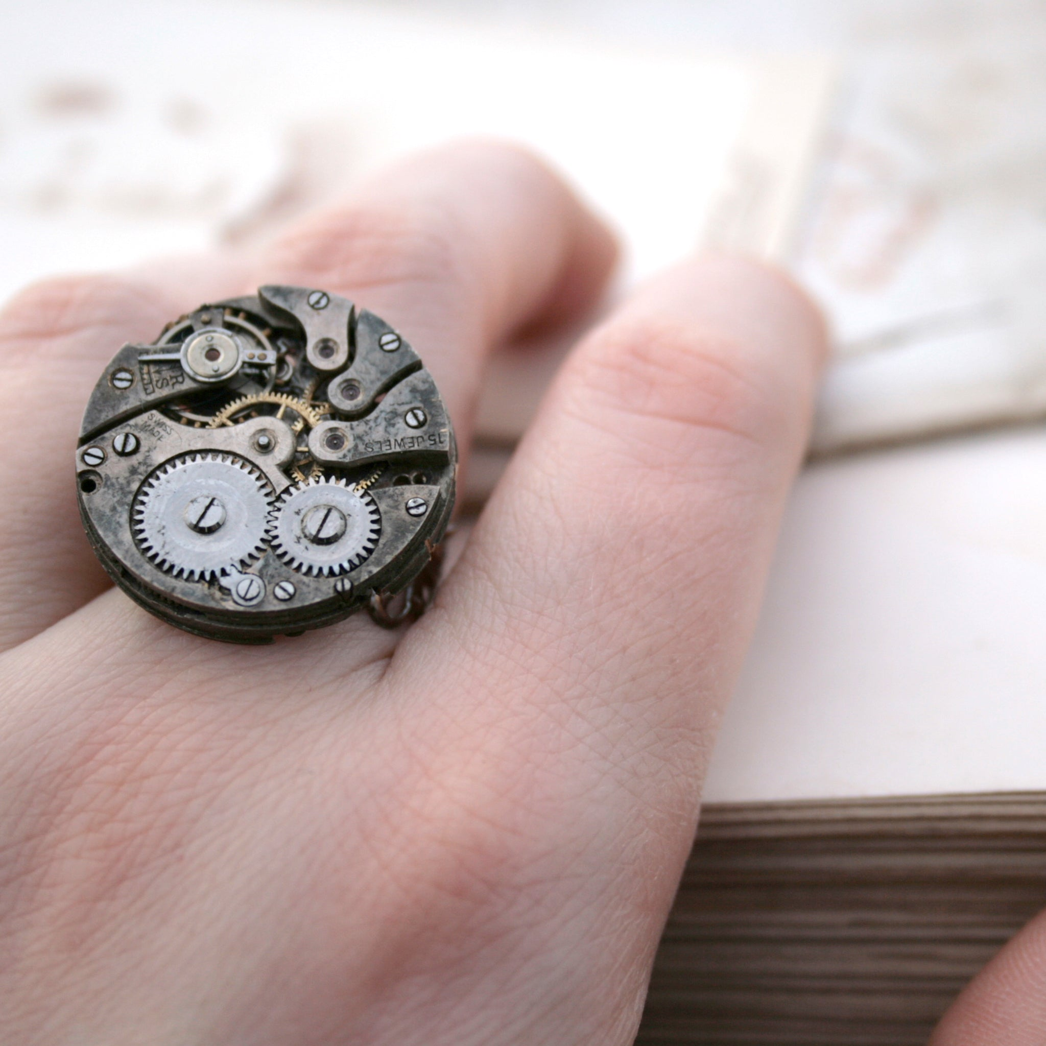 Gothic Ring with Watch Work on a hand