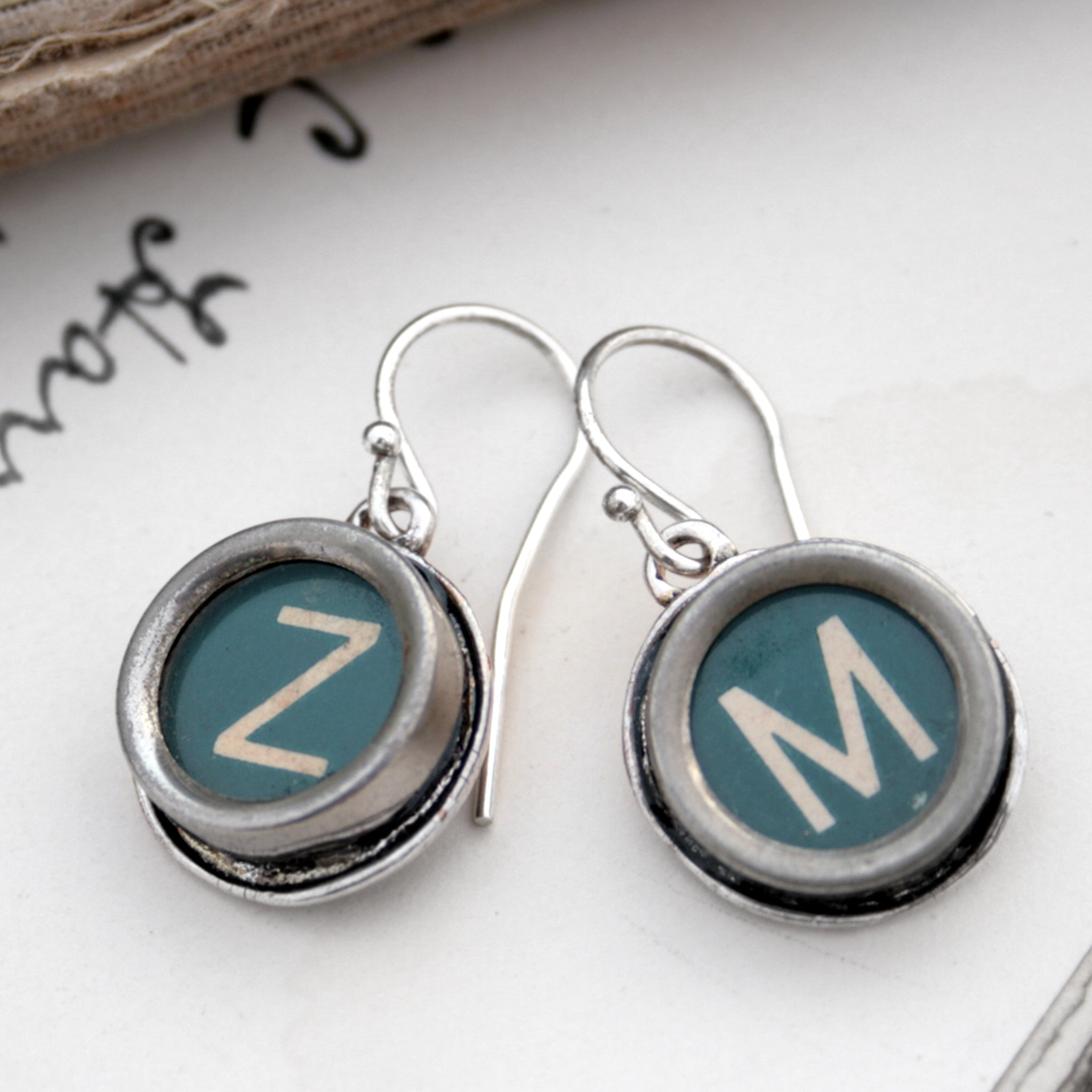 initial earrings made of authentic vintage typewriter keys Z and M in green color