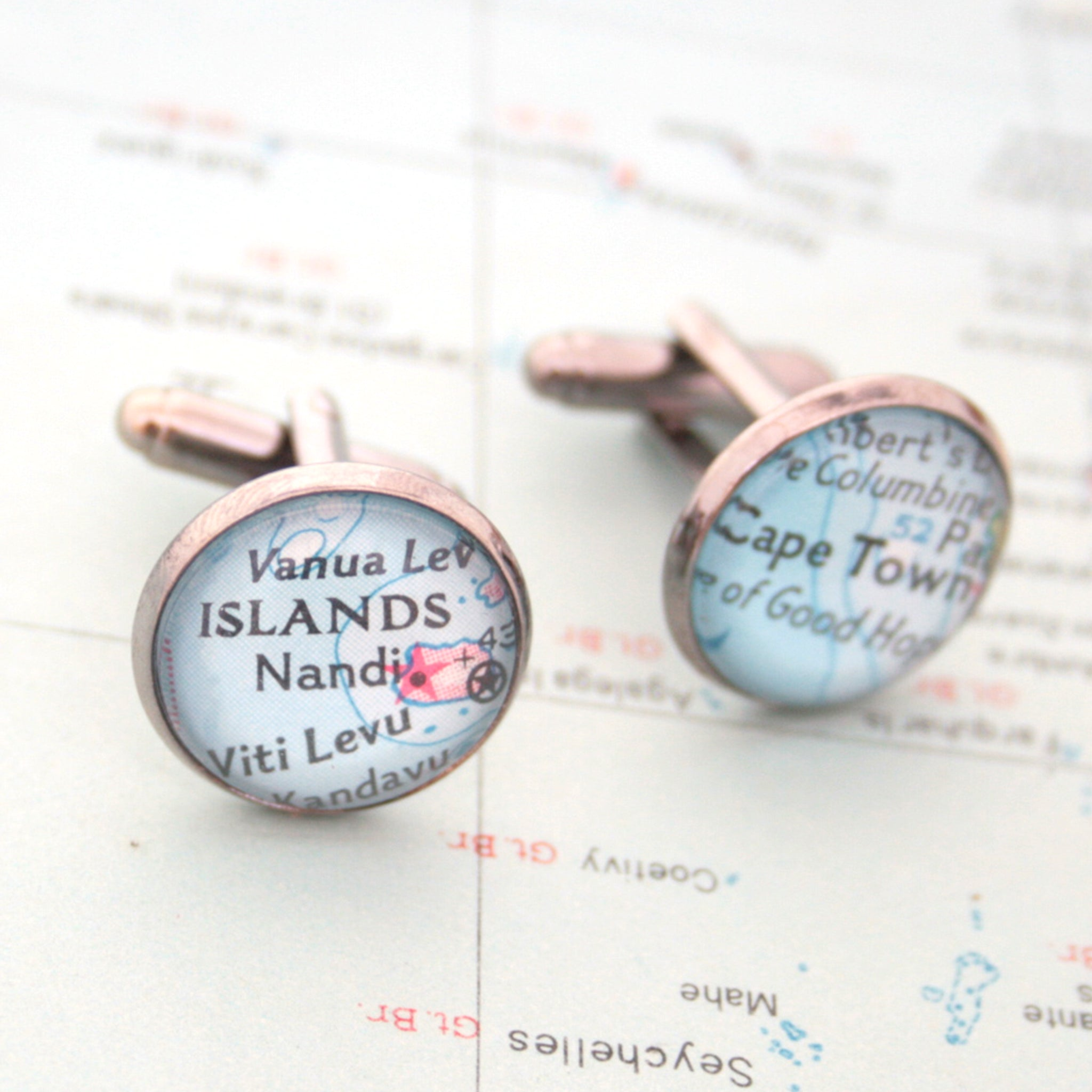 Personalised map cufflinks in gunmetal color featuring custom maps