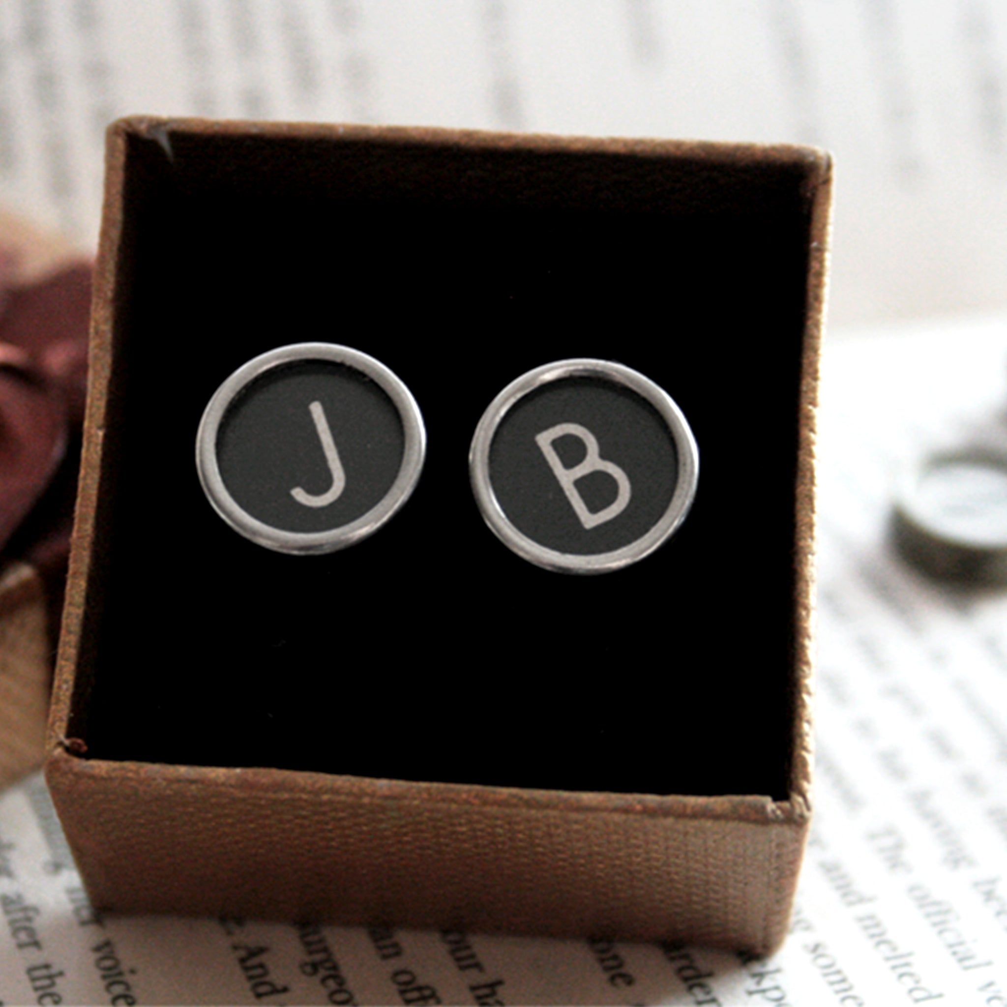 Black Personalised cufflinks with initials made of real typewriter keys J and B in a box