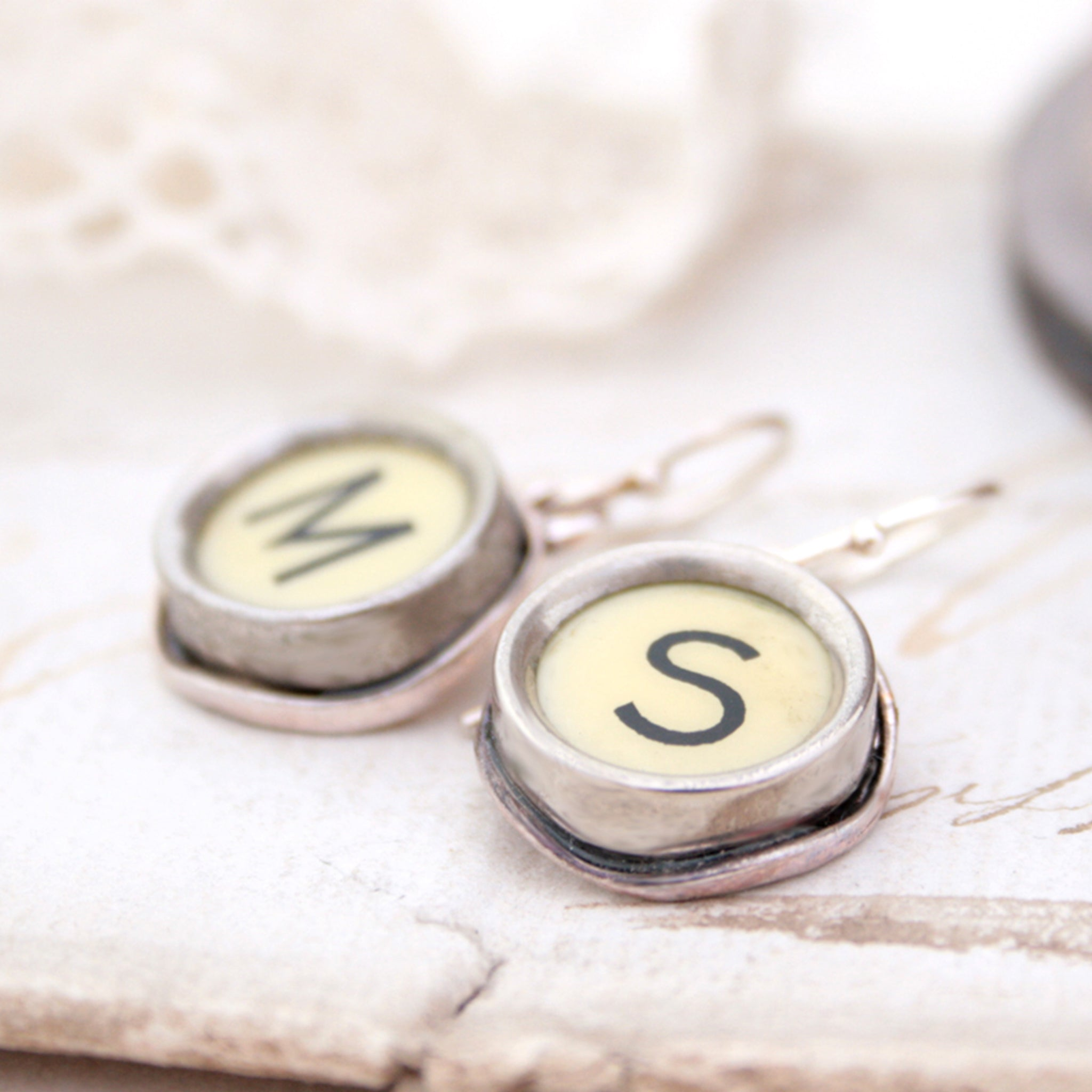 M and S Ivory Typewriter keys turned into initial earrings