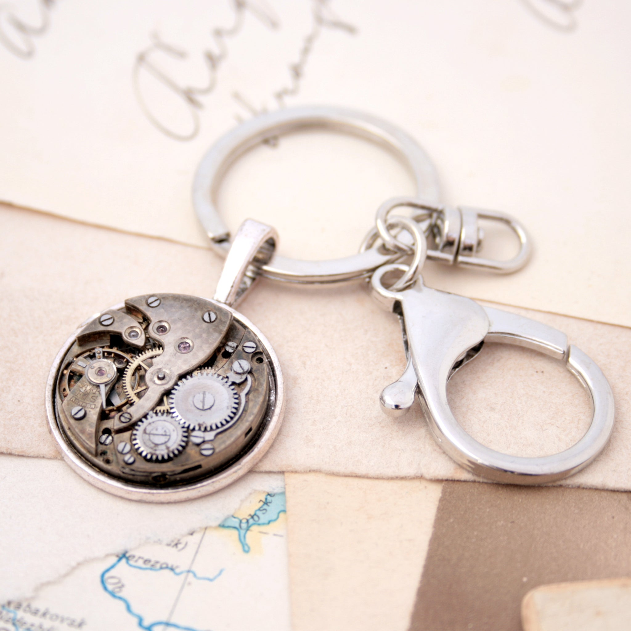 Cool keychain for him in steampunk style with watch movement