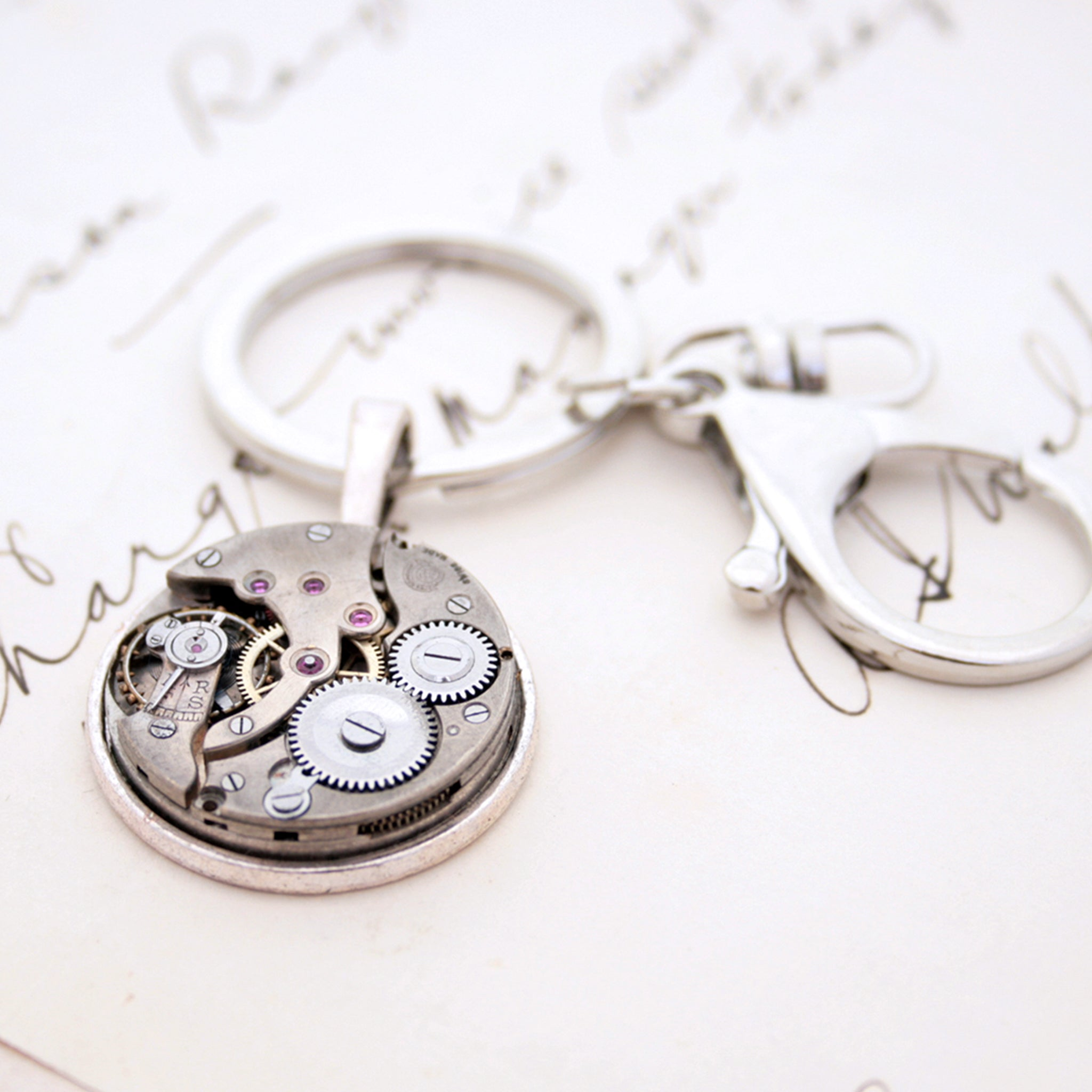 Cool, steampunk keychain, made of real antique watch movement