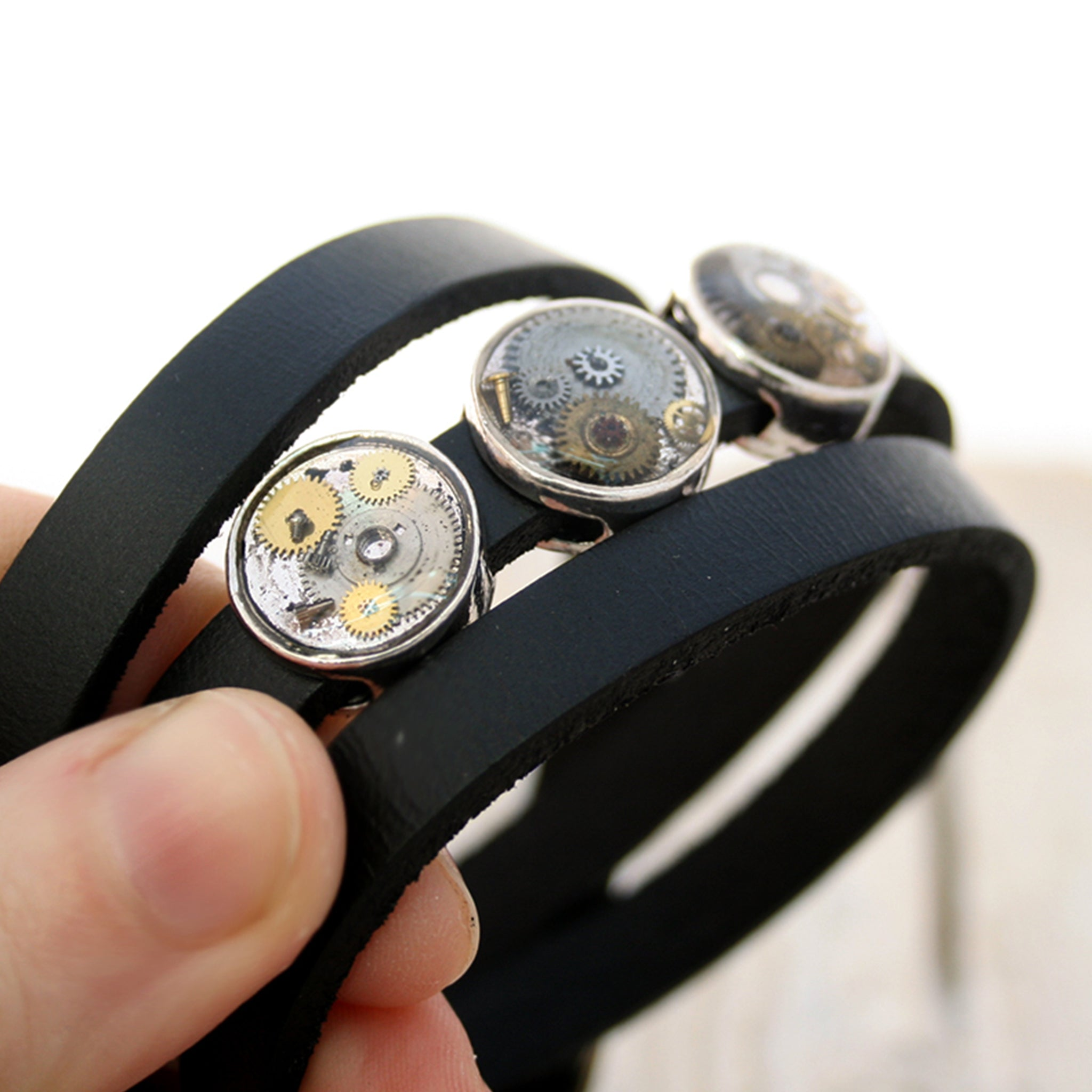 Black mens leather bracelet with silver steampunk slider beads