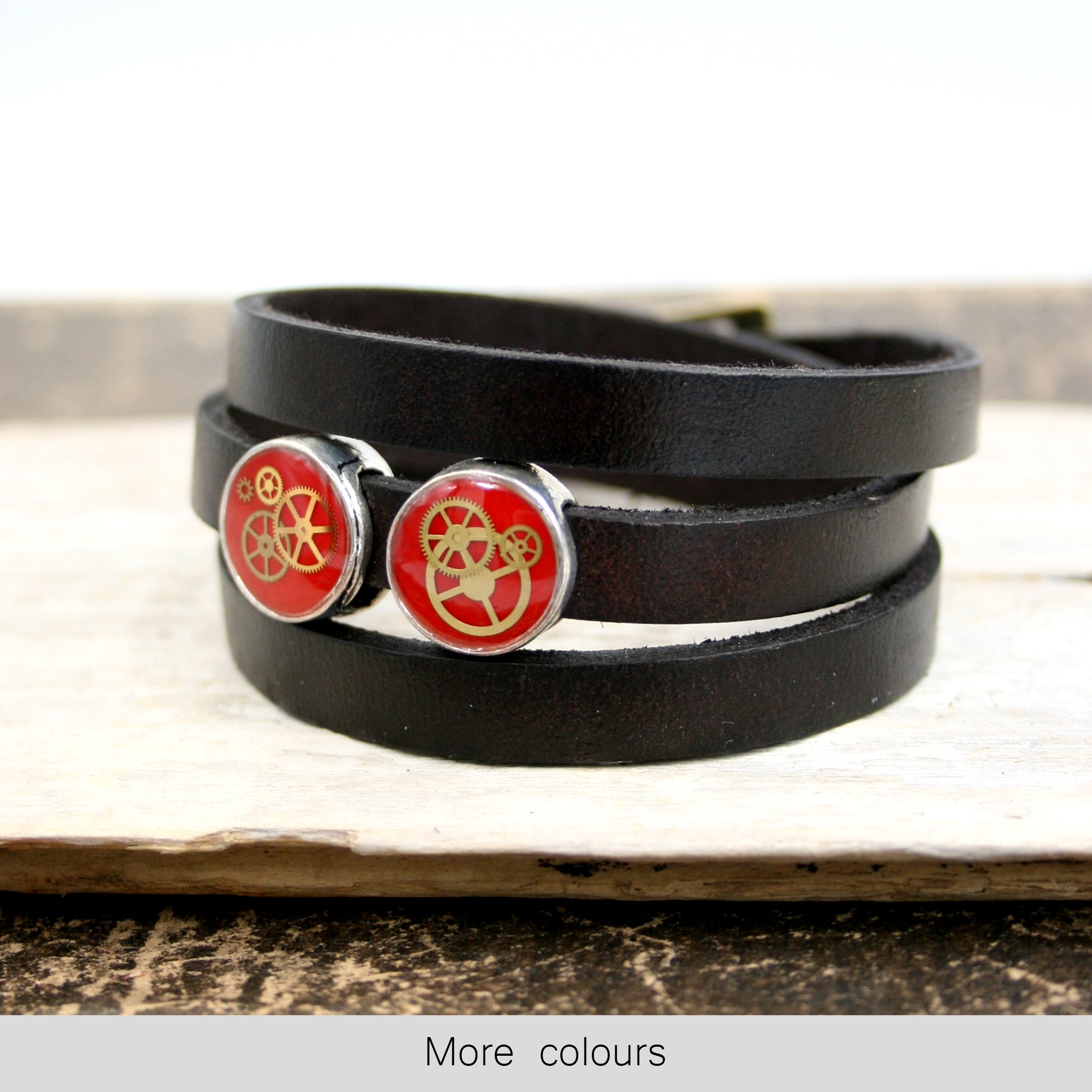 Steampunk Mens Black Leather Bracelet with red slider beads and real watch parts