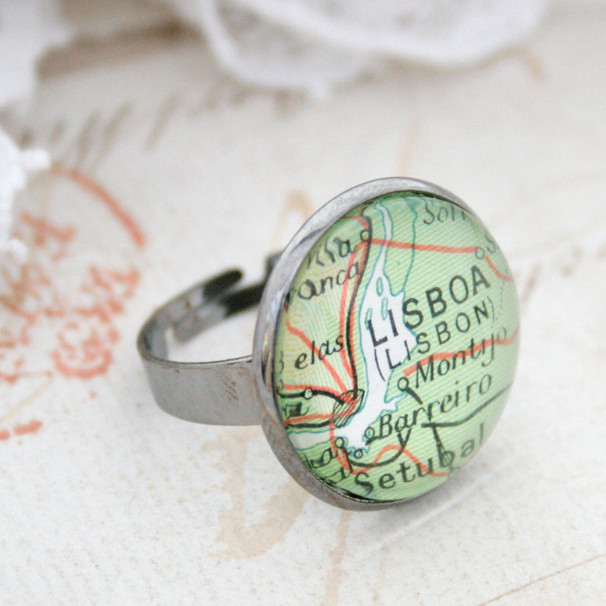 Gunmetal black ring featuring map of Lisboa