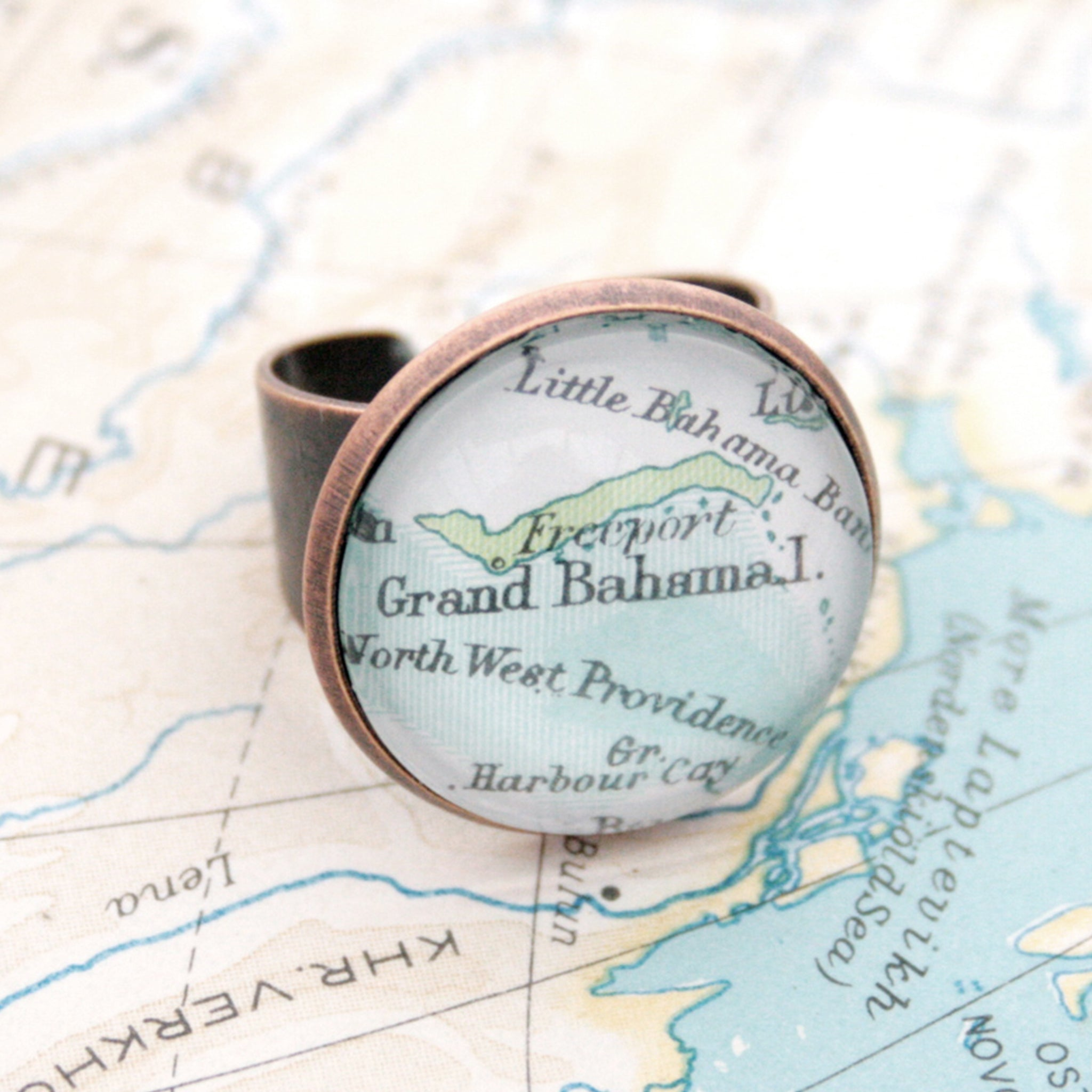 Copper ring featuring map of Grand Bahama