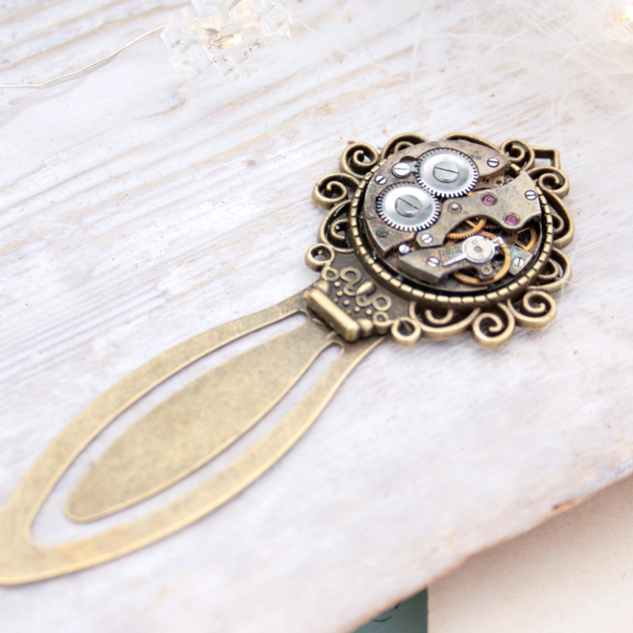 Unique Bookmark made of steampunk watch movement