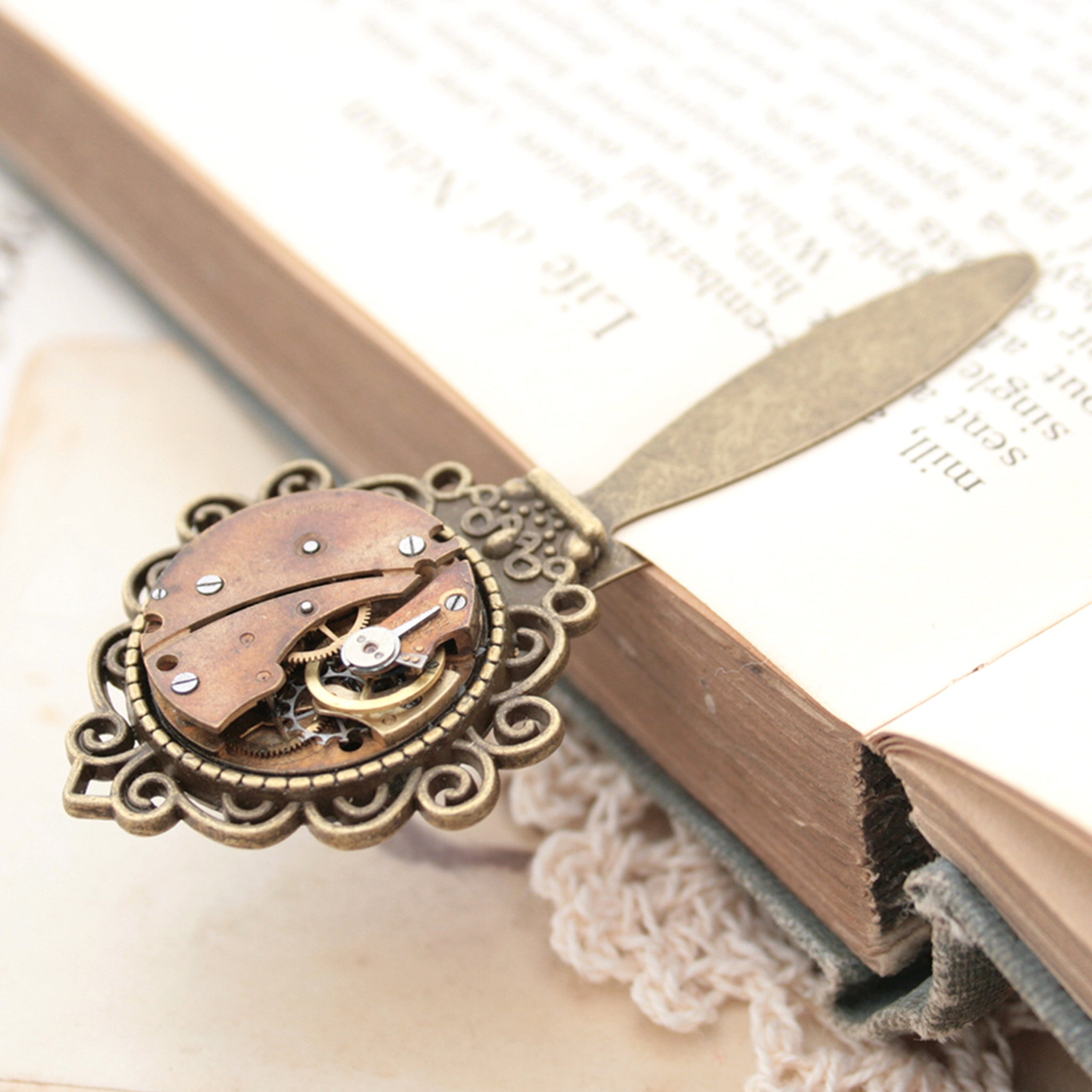 Bronze Bookmark with Watch Movement