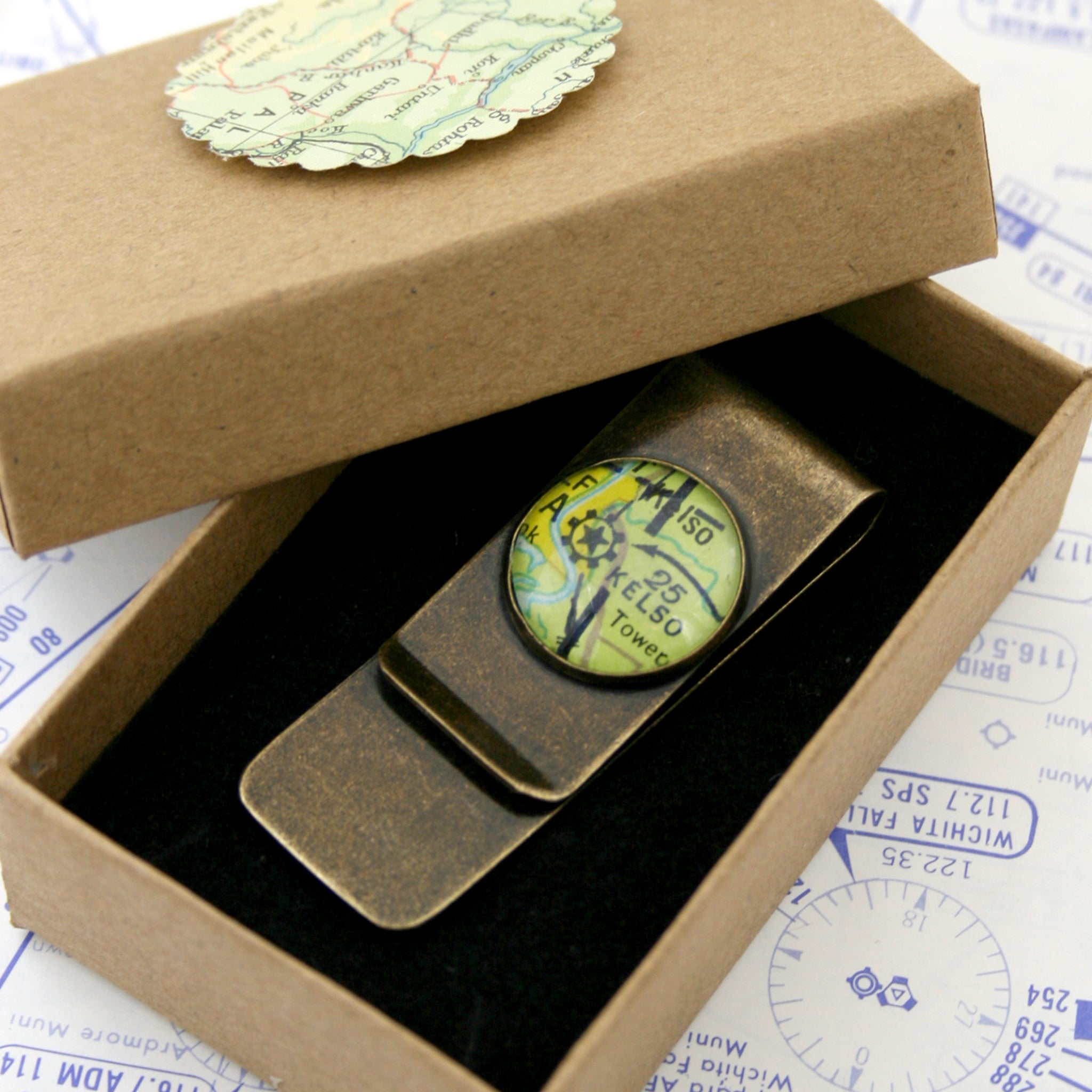 Bronze money clip featuring aeronautical chart in a box