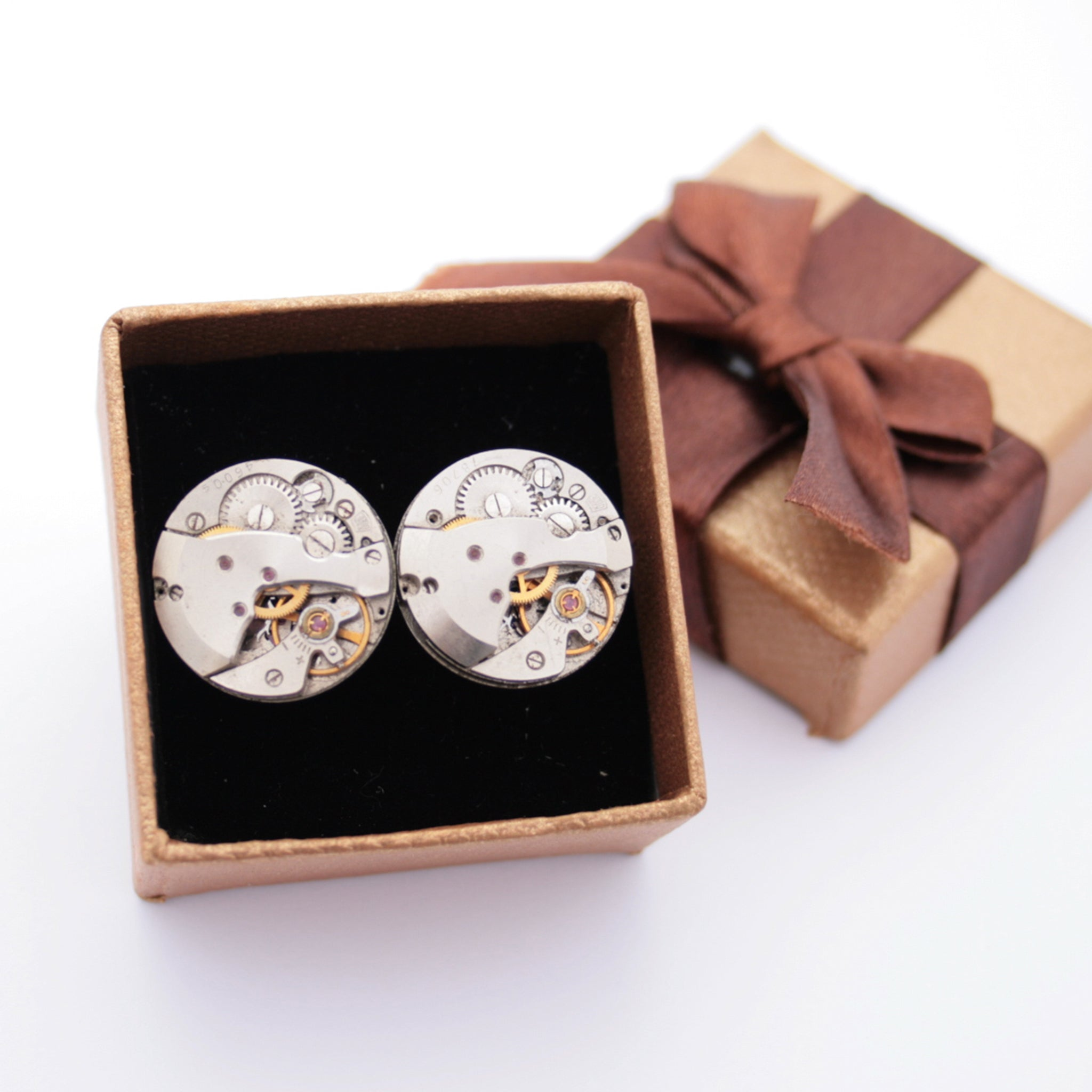 Novelty Watch Cufflinks made of real watches in a brown box with a bow
