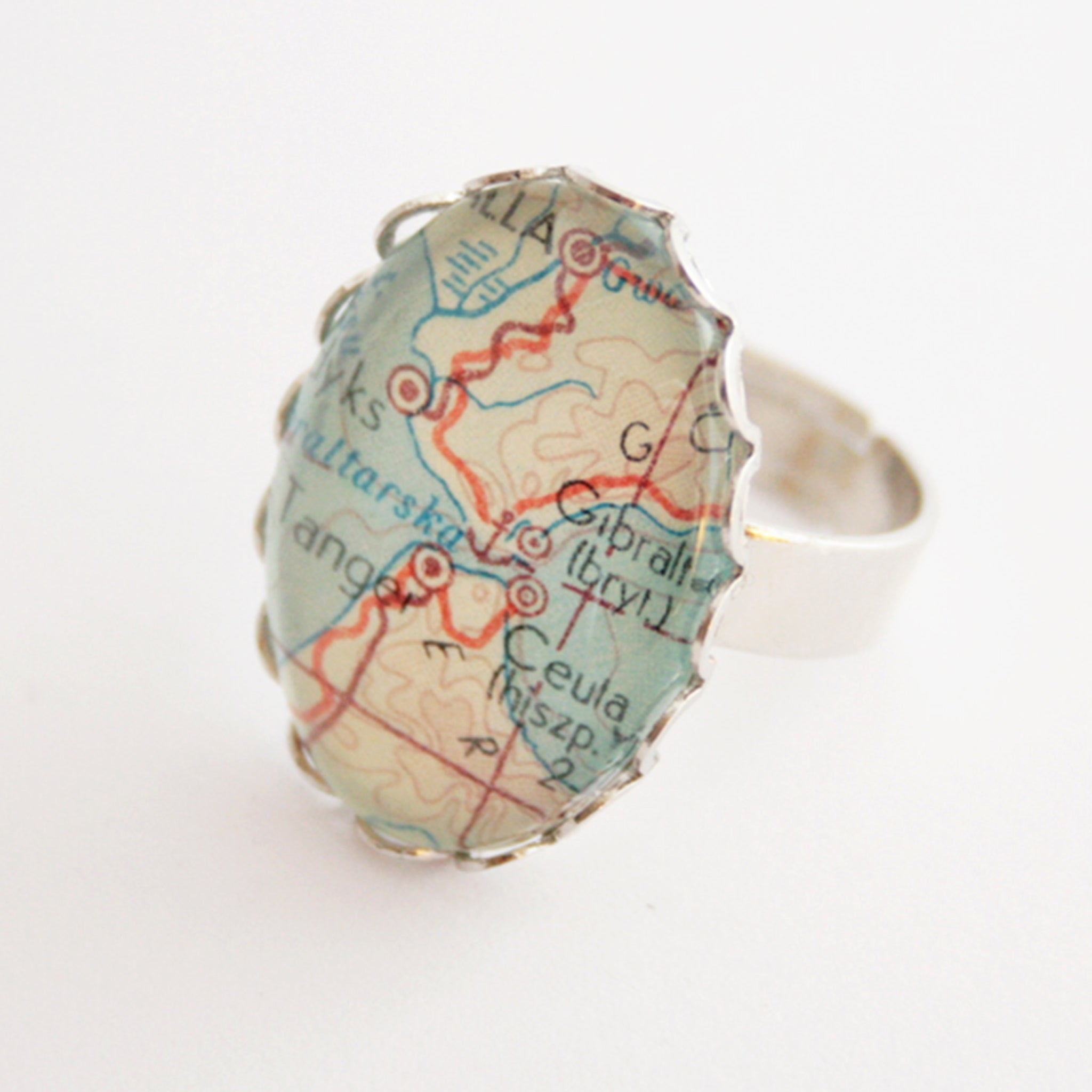 Oval silver ring personalised featuring map of Gibraltar
