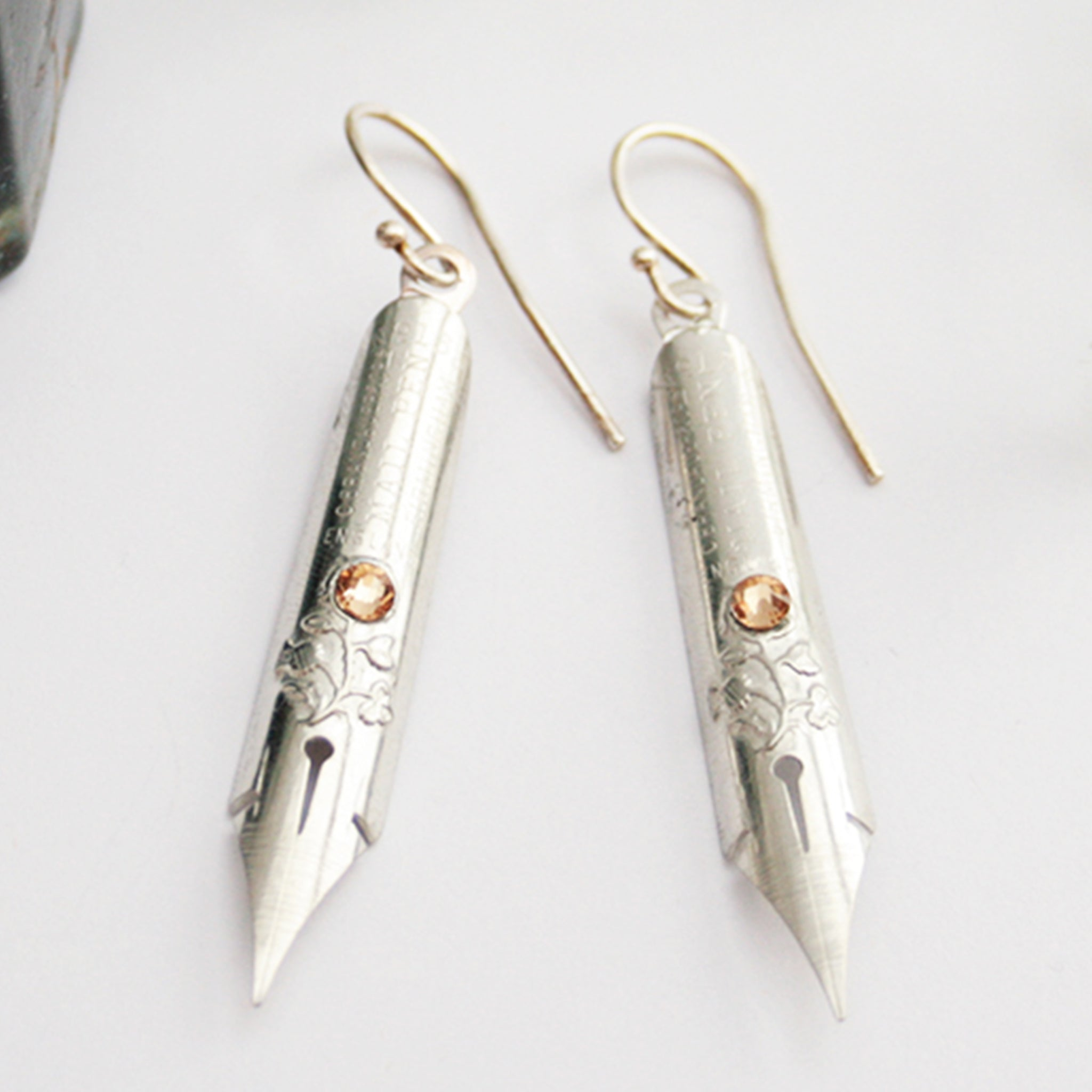 Topaz Birthstone Earrings made of antique Silver Pen Nibs