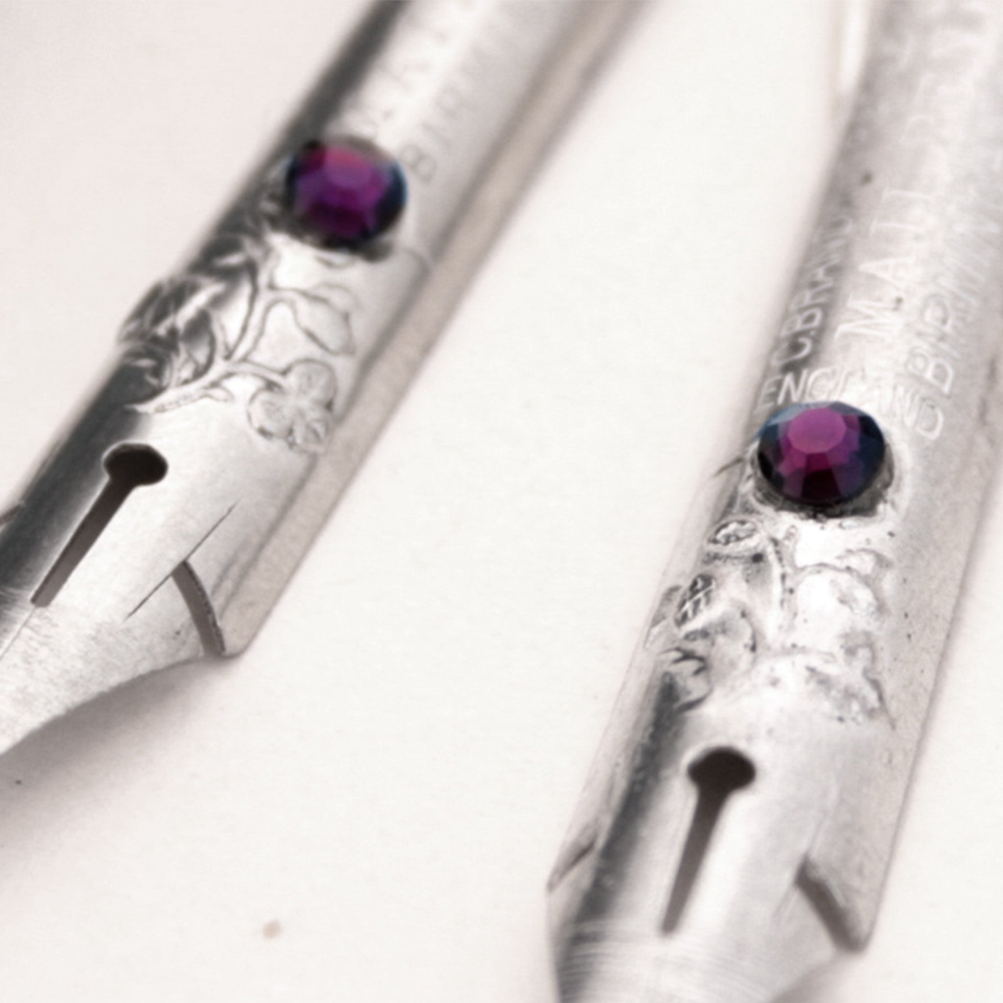 Amethyst Birthstone Earrings made of antique Silver Pen Nibs