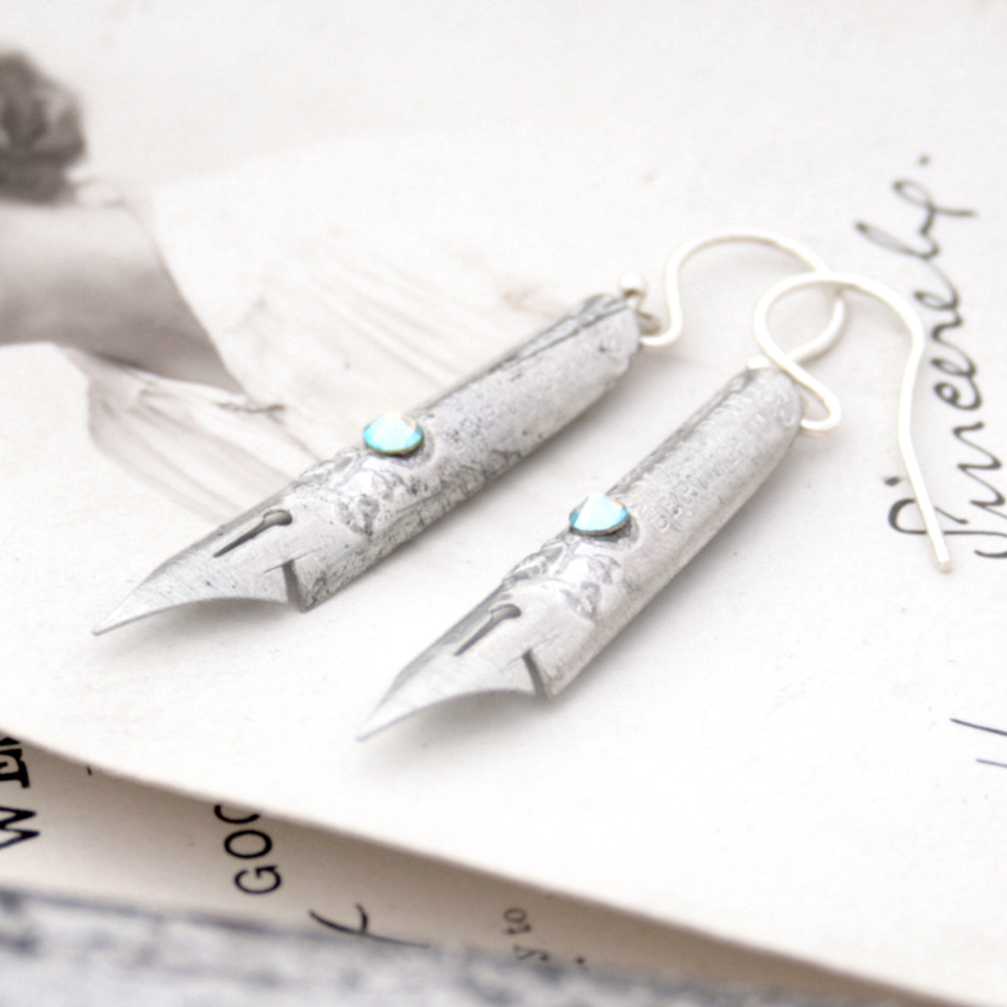 Birthstone Earrings made of antique Silver Pen Nibs