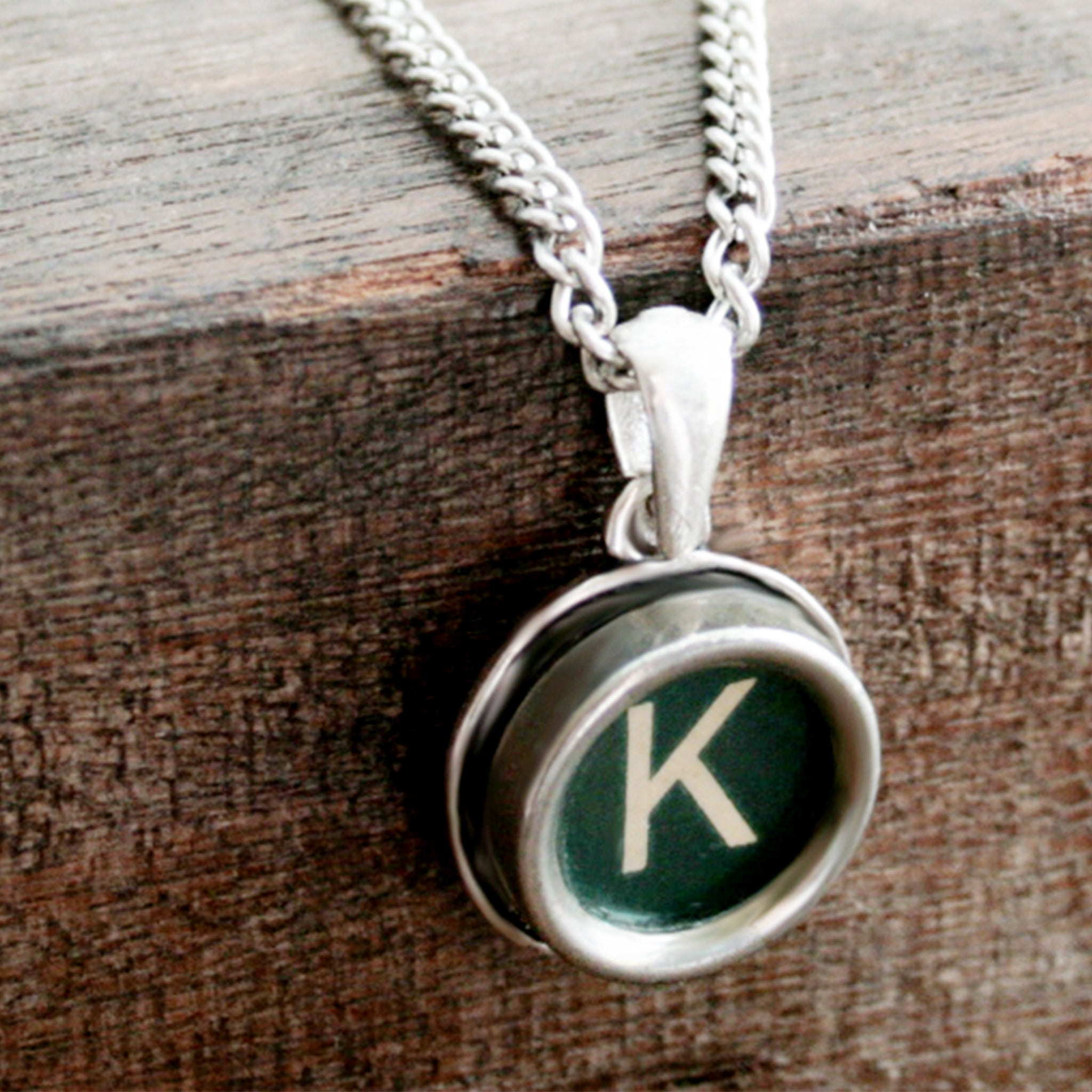 Green K letter necklace made of real typewriter key