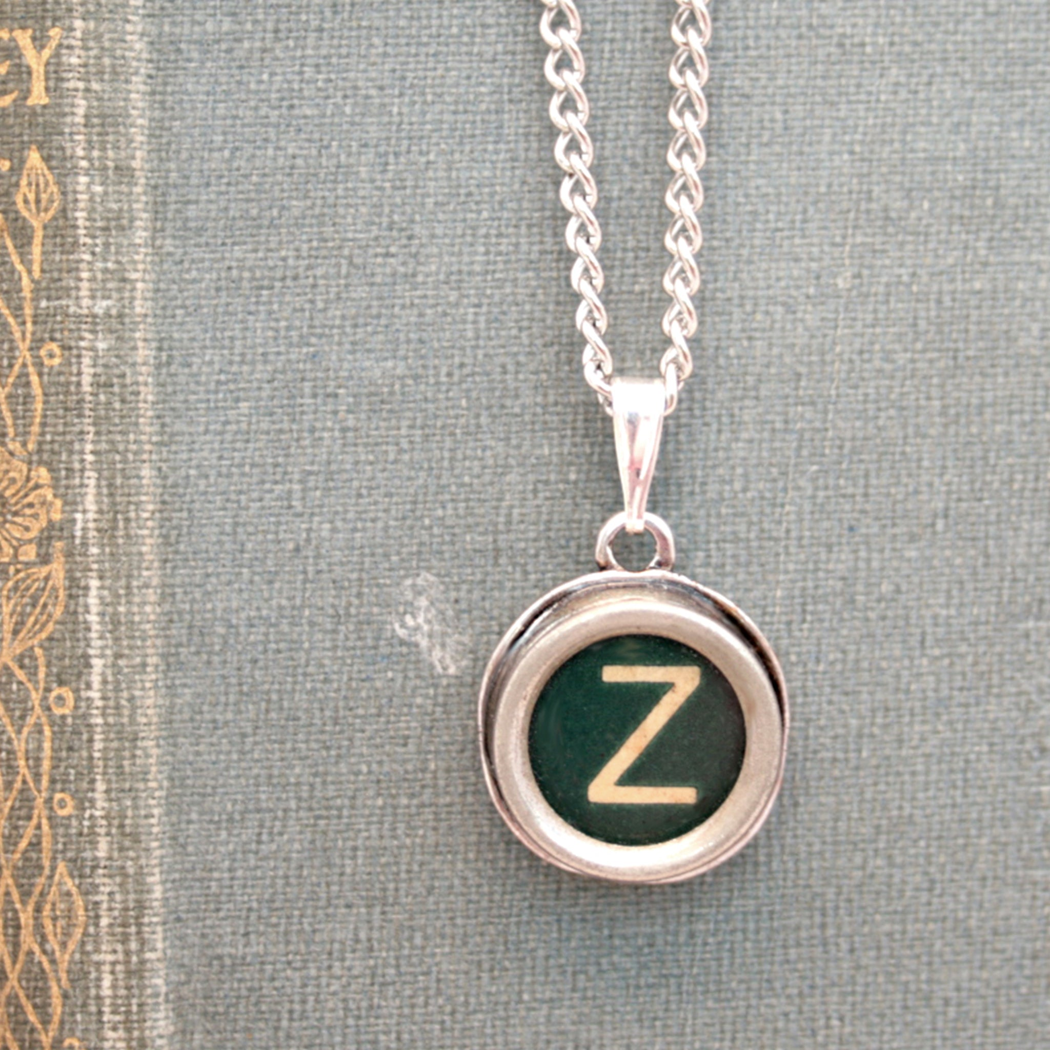 Green Z letter necklace made of real typewriter key