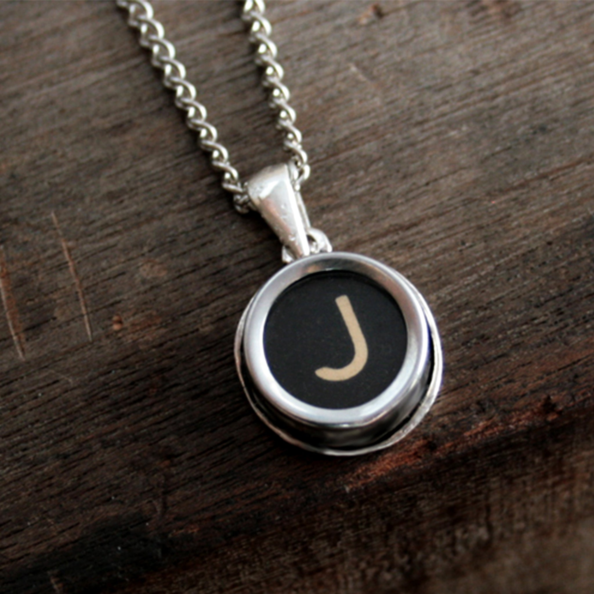 J initial necklace made of authentic vintage black typewriter key