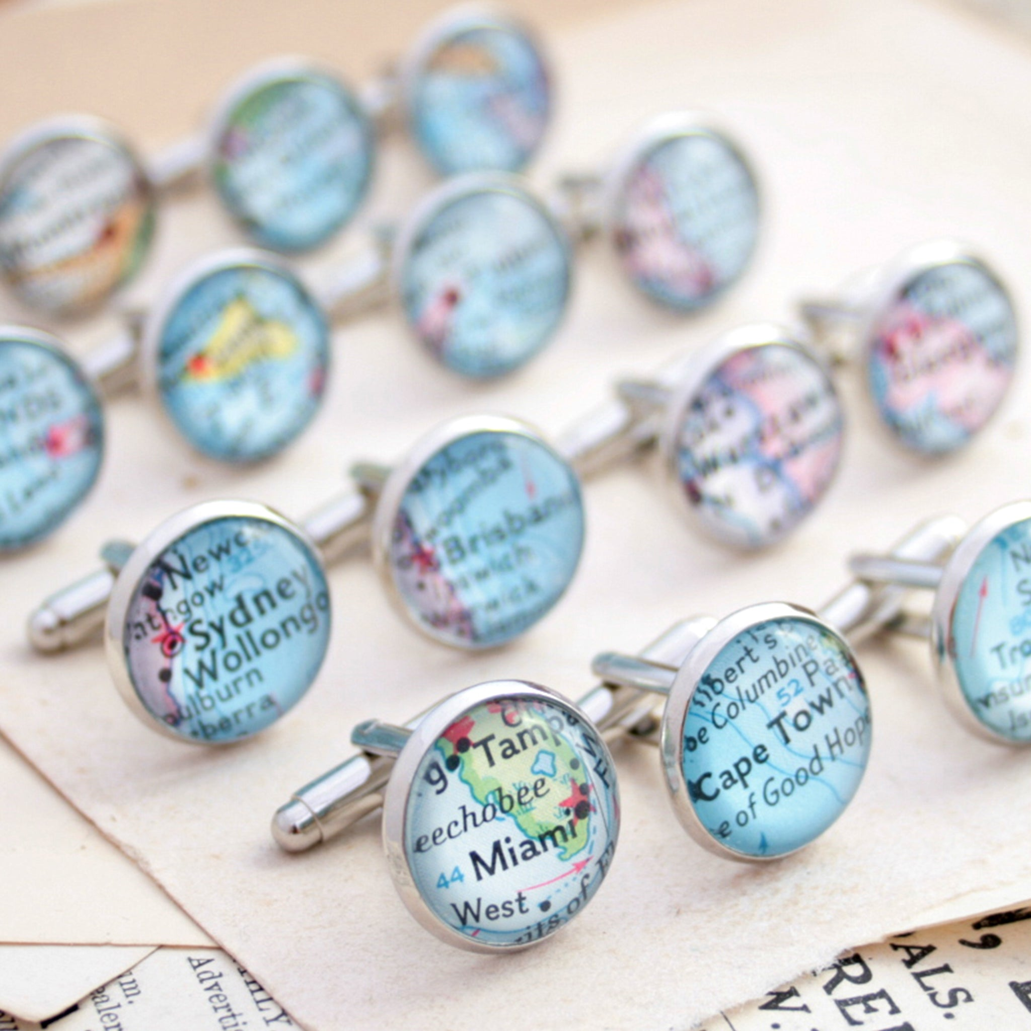 Personalised map cufflinks in silver tone featuring custom maps