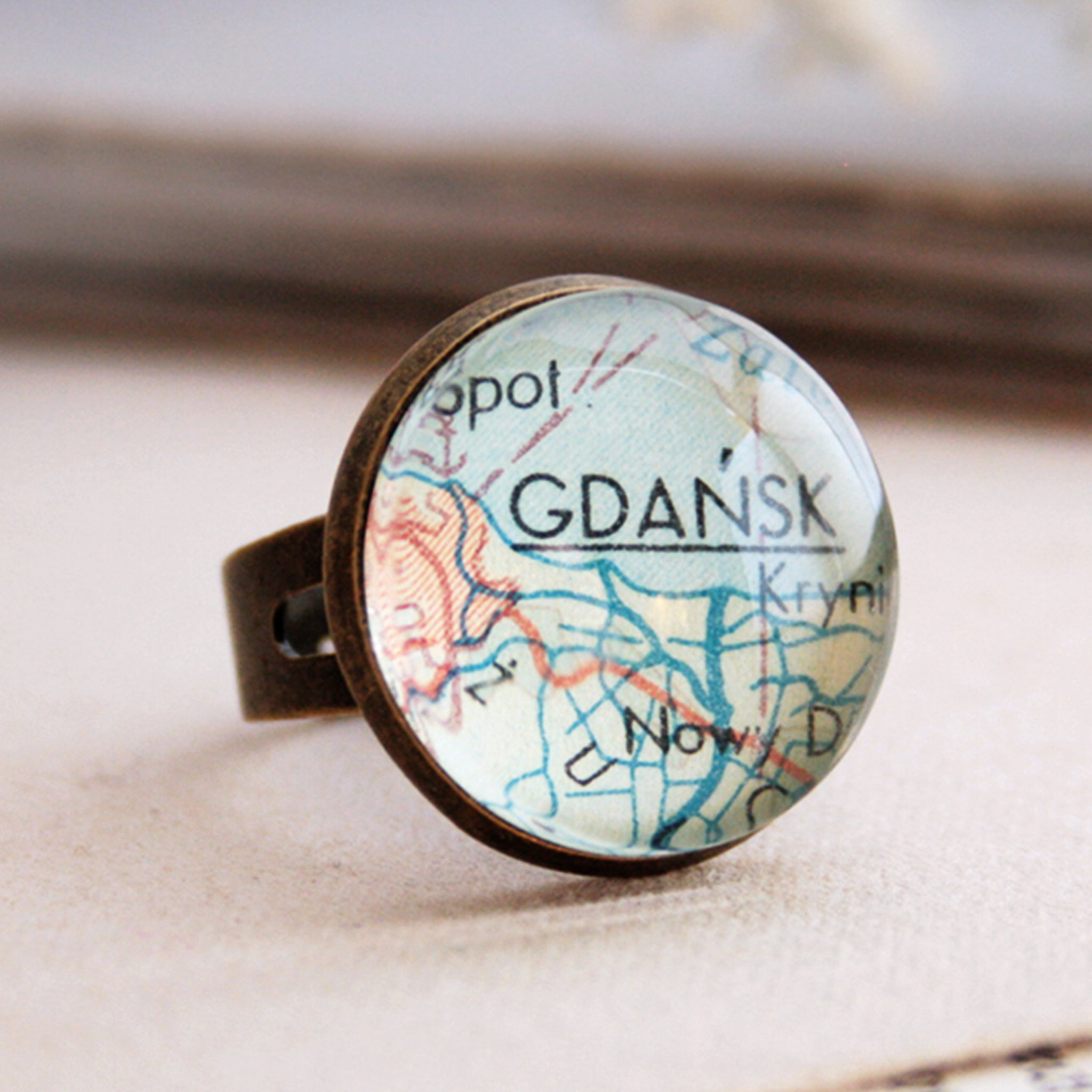 Bronze ring featuring map of Gdansk