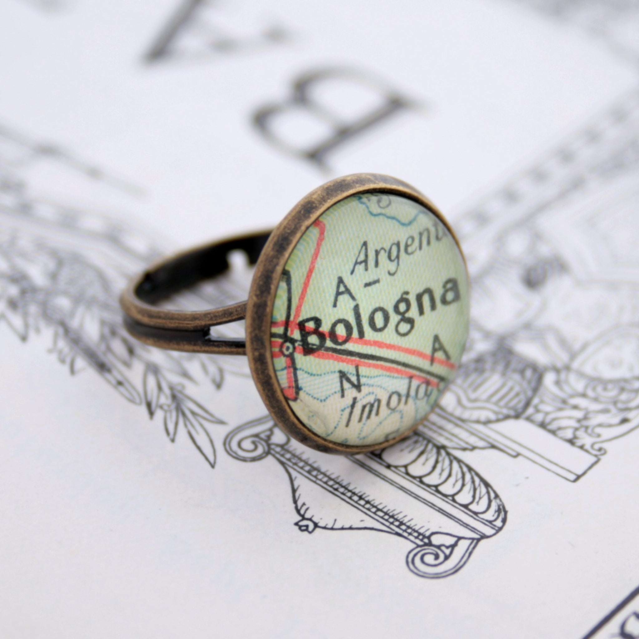 Bronze ring featuring map of Bologna