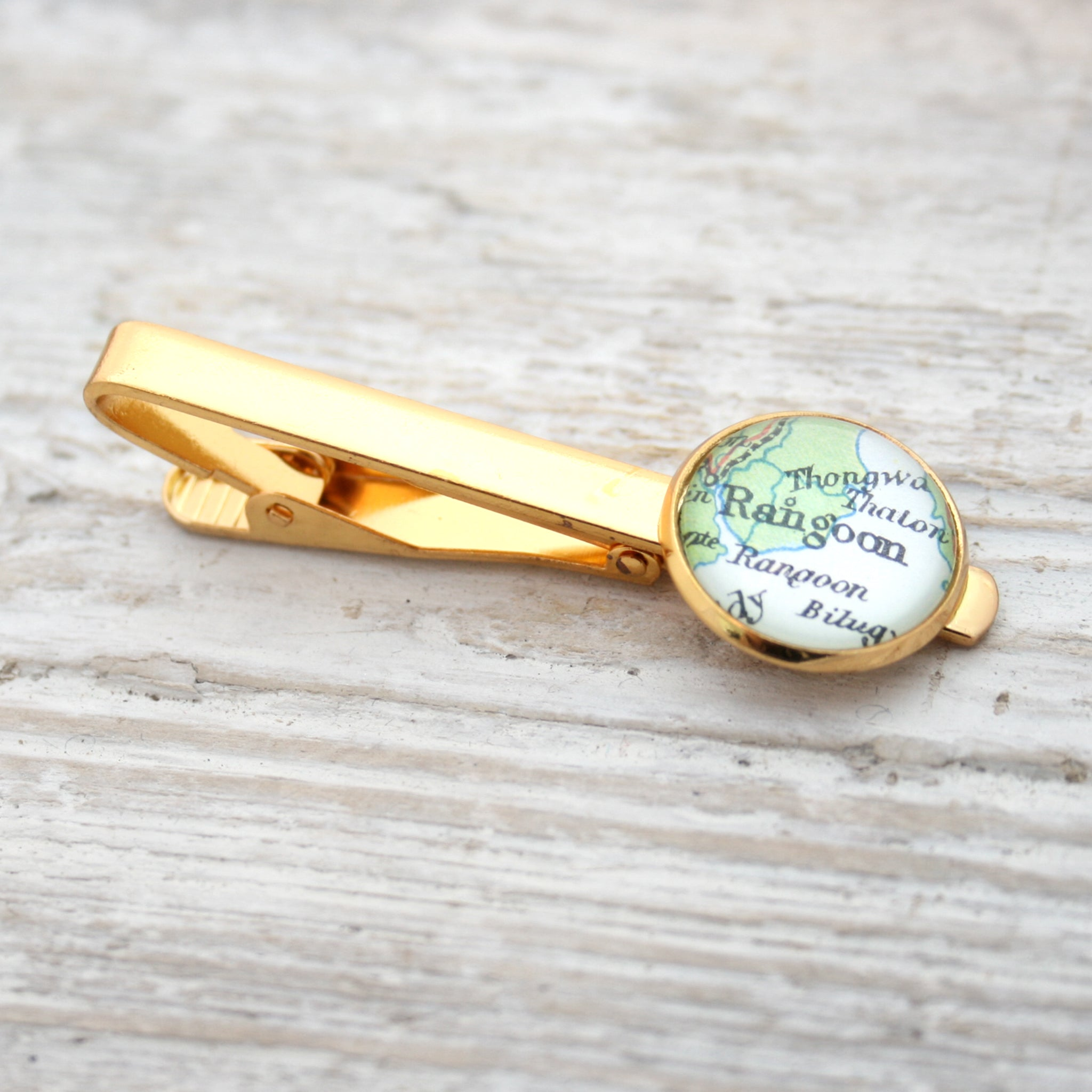 Personalised Tie Clip in gold color featuring map of Rangoon