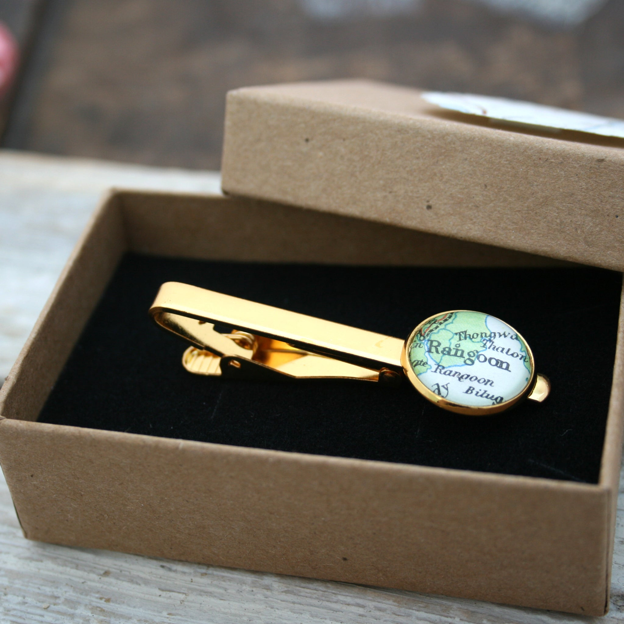 Personalised Tie Clip in gold color featuring map of Rangoon in a box