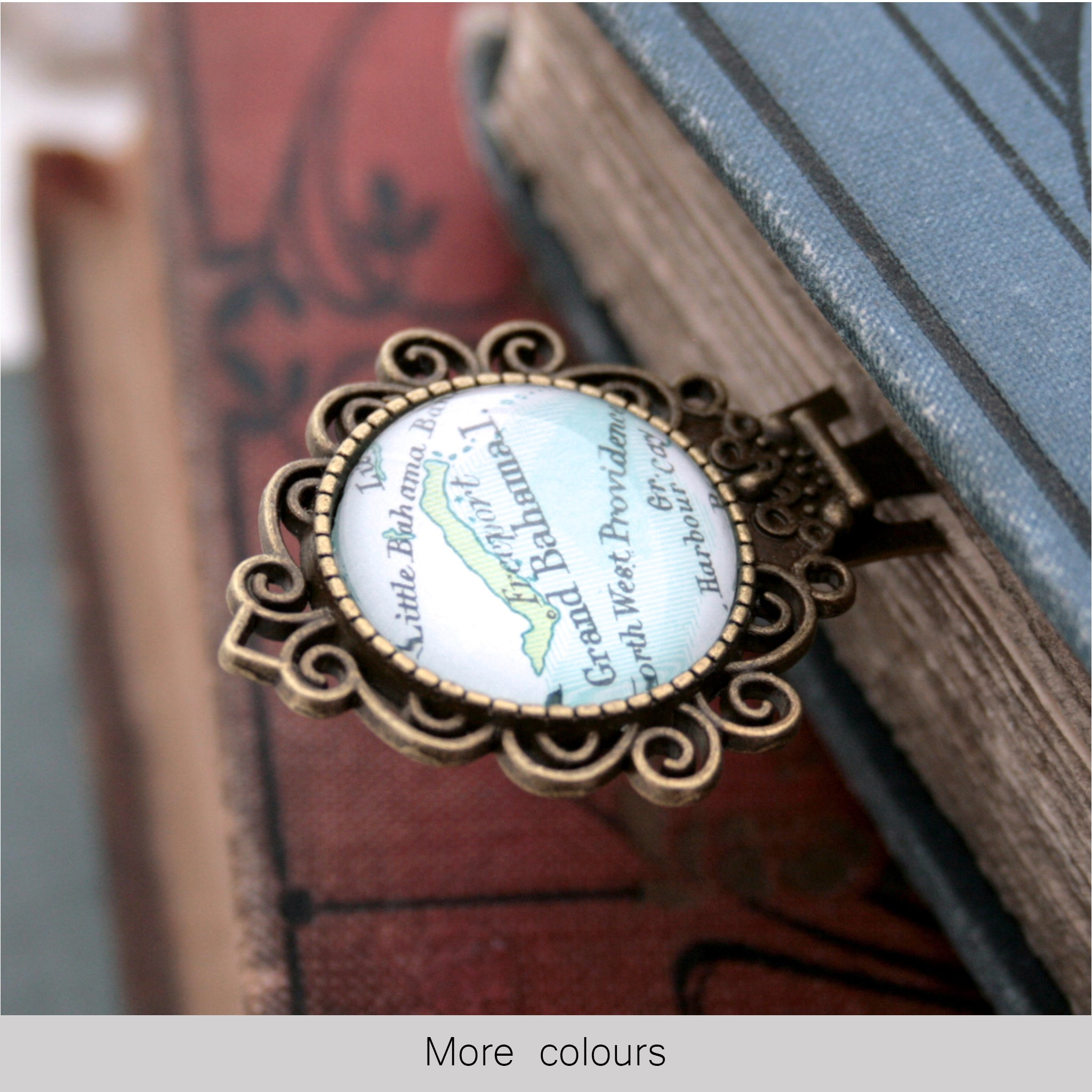 Personalised bookmark featuring Grand Bahama map in antique bronze color
