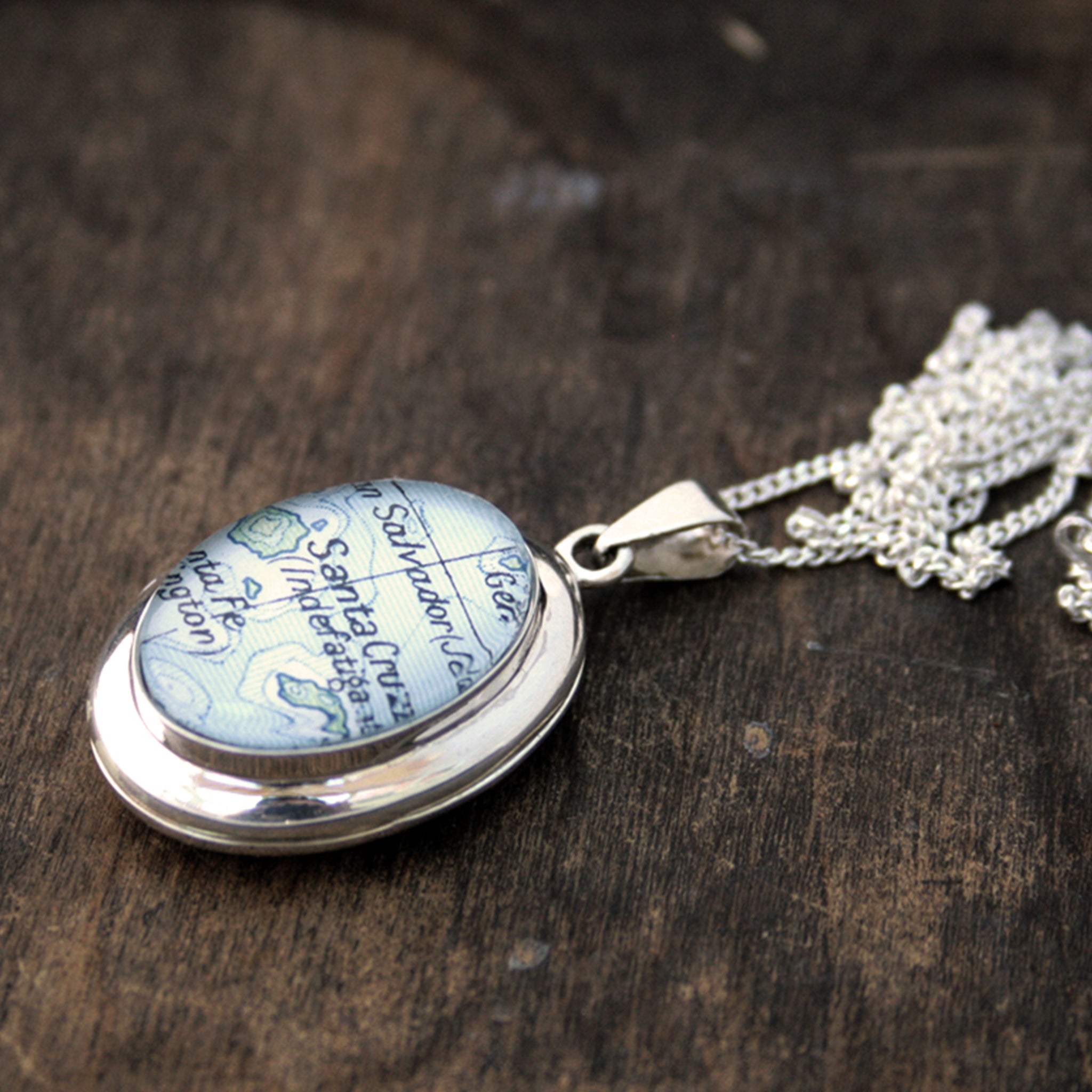Sterling Silver locket necklace featuring map of Santa Cruz