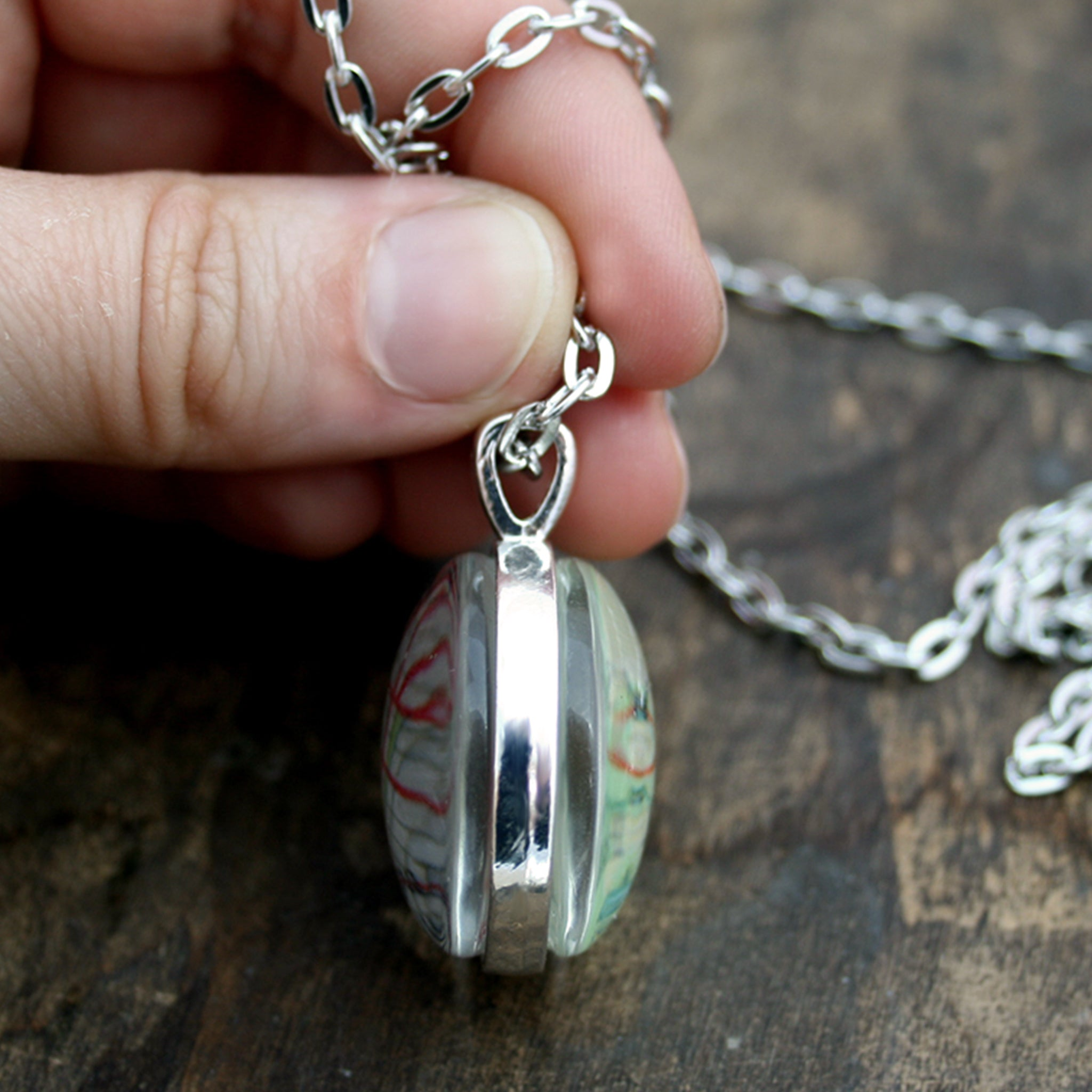 Hold in hand Silver tone double sided pendant necklace featuring maps of customers choice