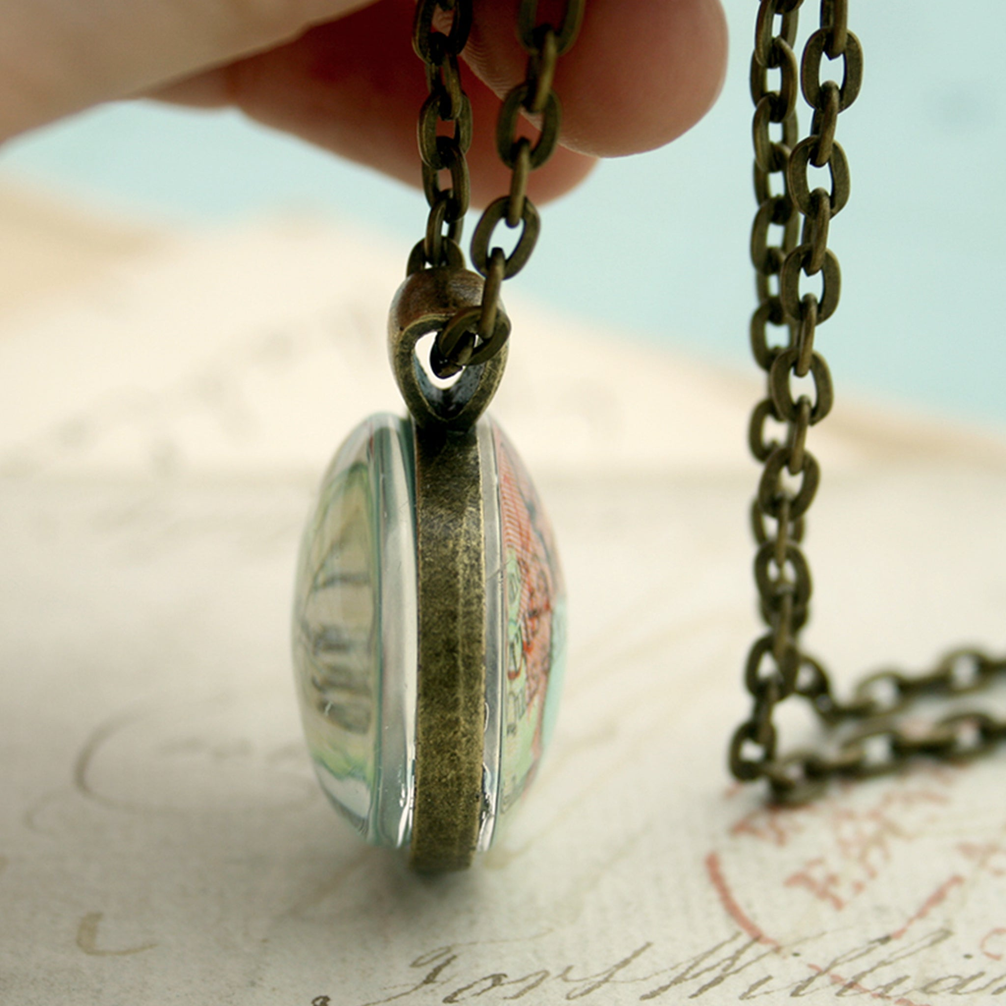 Bronze double sided pendant necklace featuring map of Jerusalem