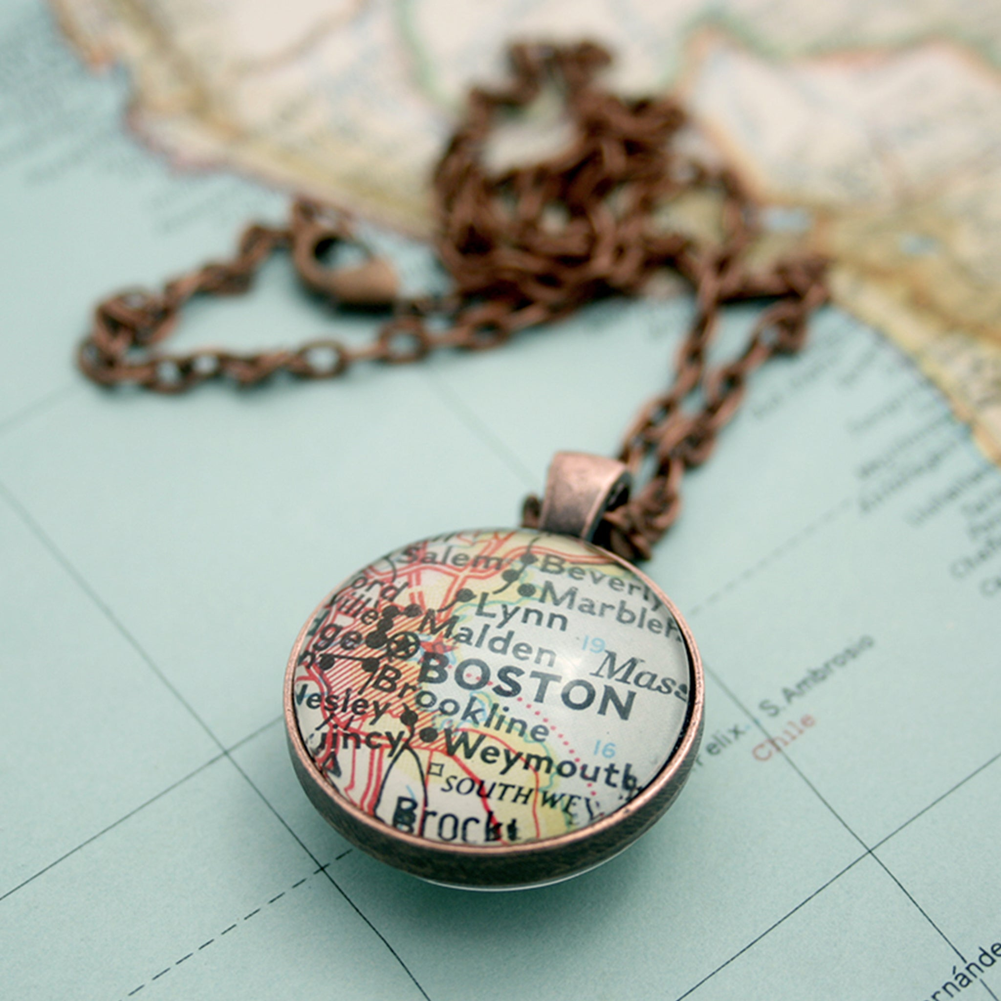 Copper double sided pendant necklace featuring map of Boston