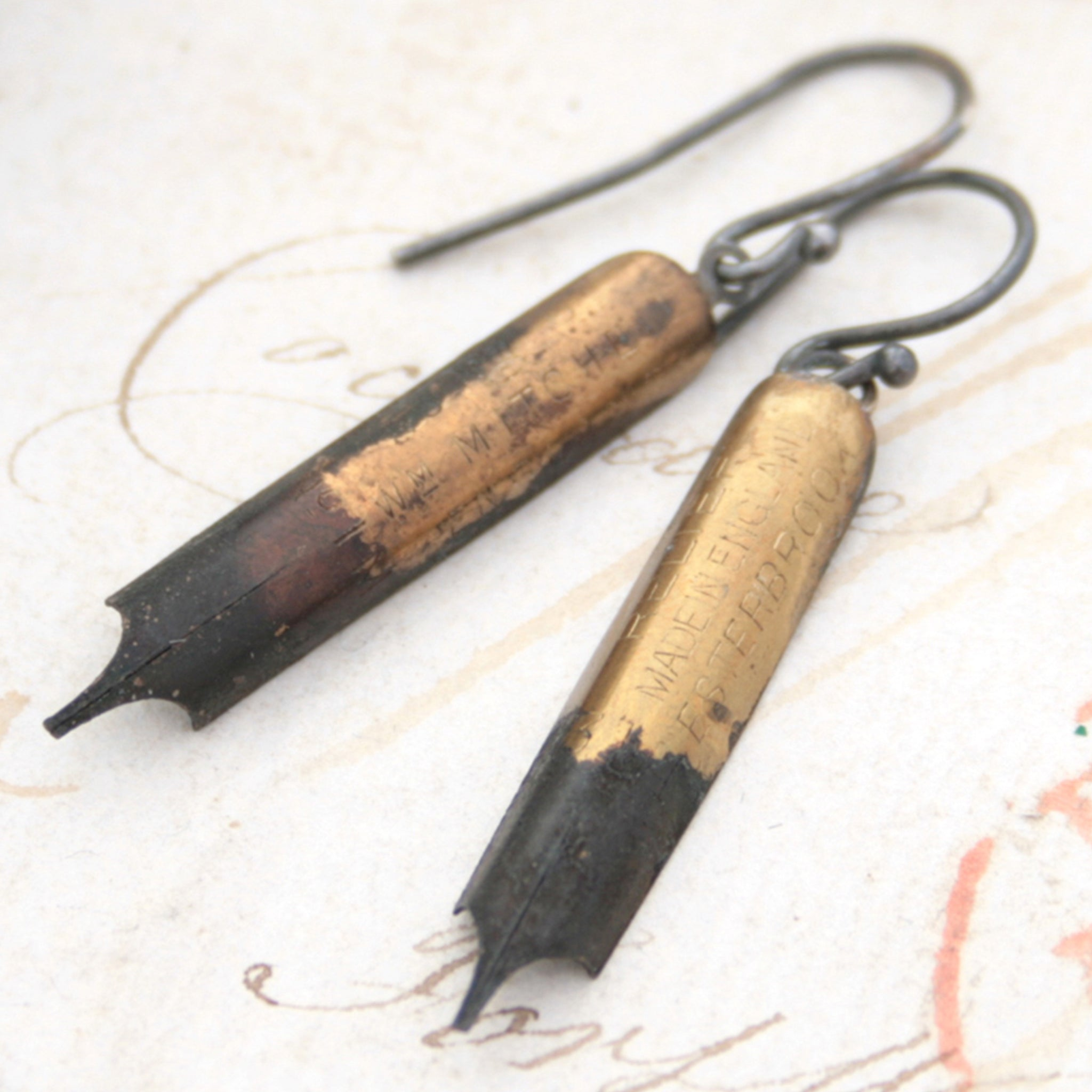 Quirky Earrings made of Pen Nibs