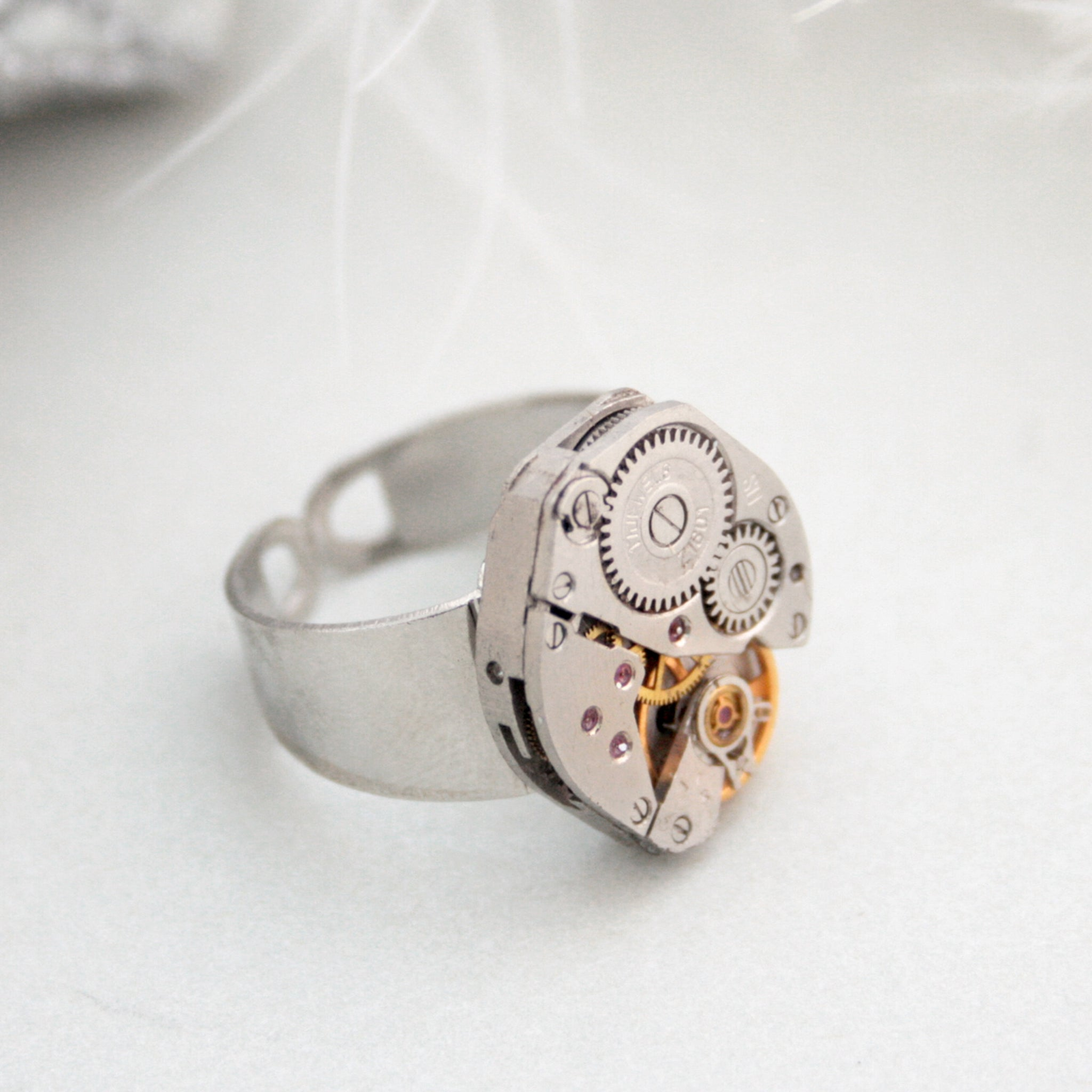 steampunk signet ring has been made using vintage Russian watch movement