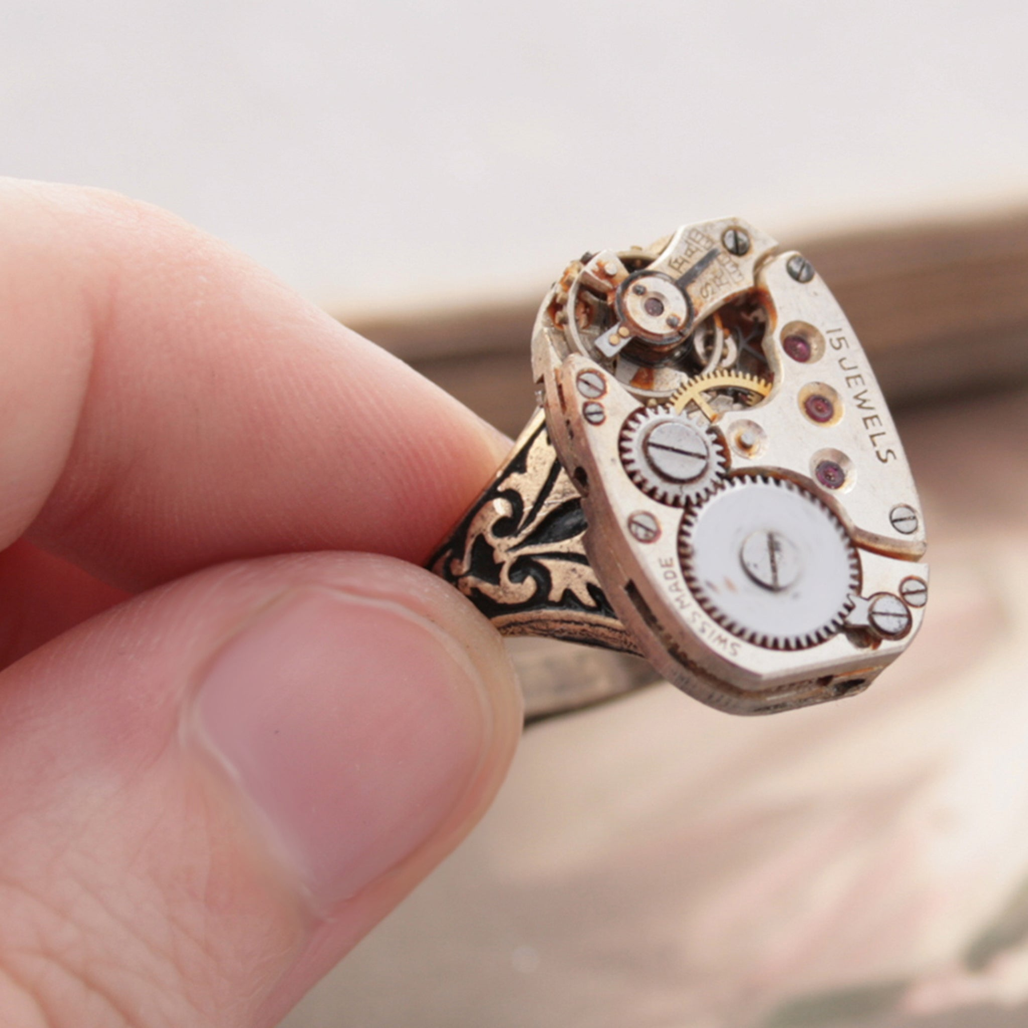Old Gold Steampunk Signet Ring made of Antique Watch mechanism