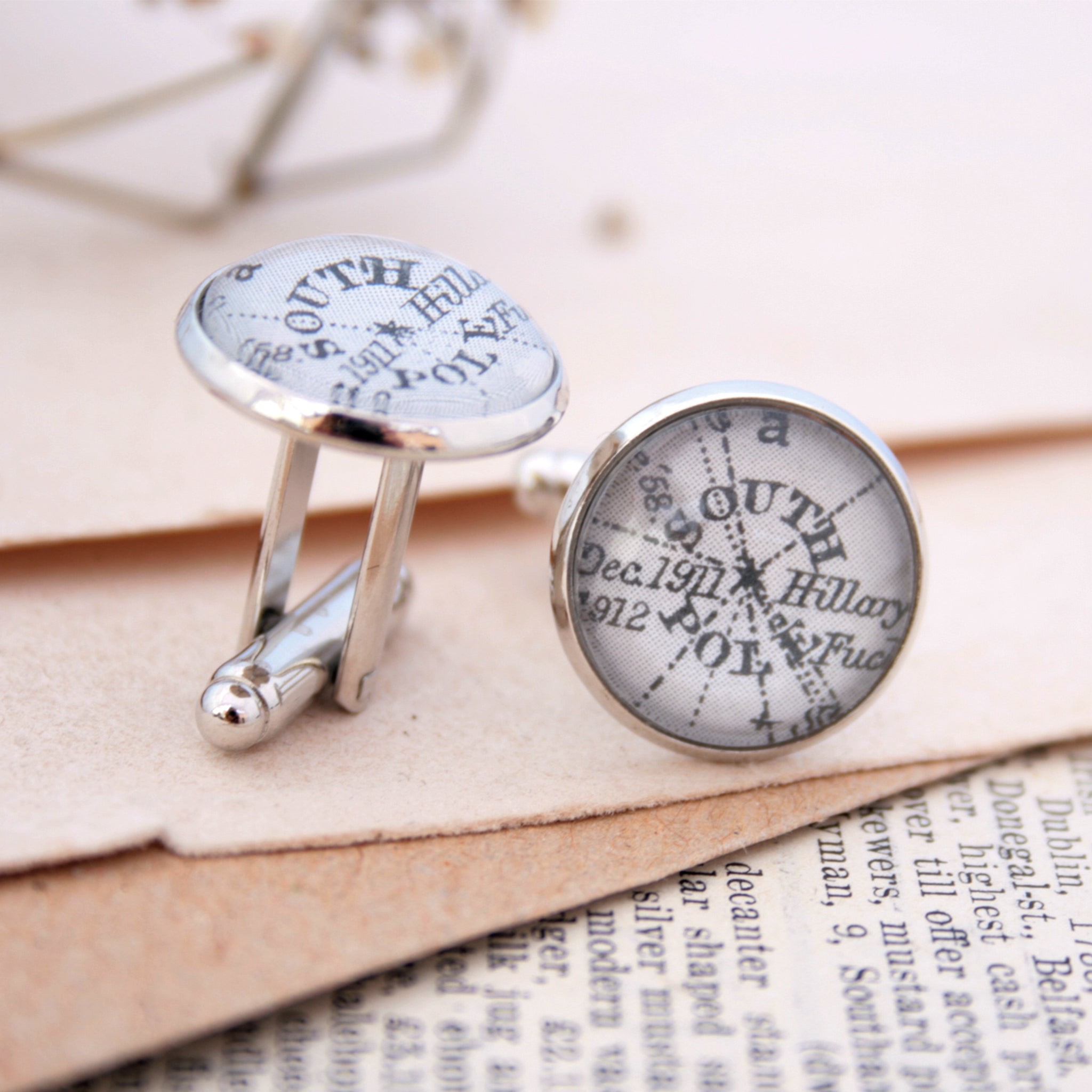 Personalised map cufflinks in silver tone featuring maps of South Pole