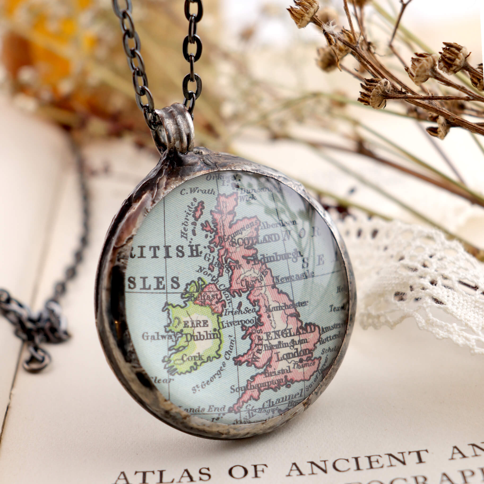 Map of British Isles framed into Tiffany style statement necklace