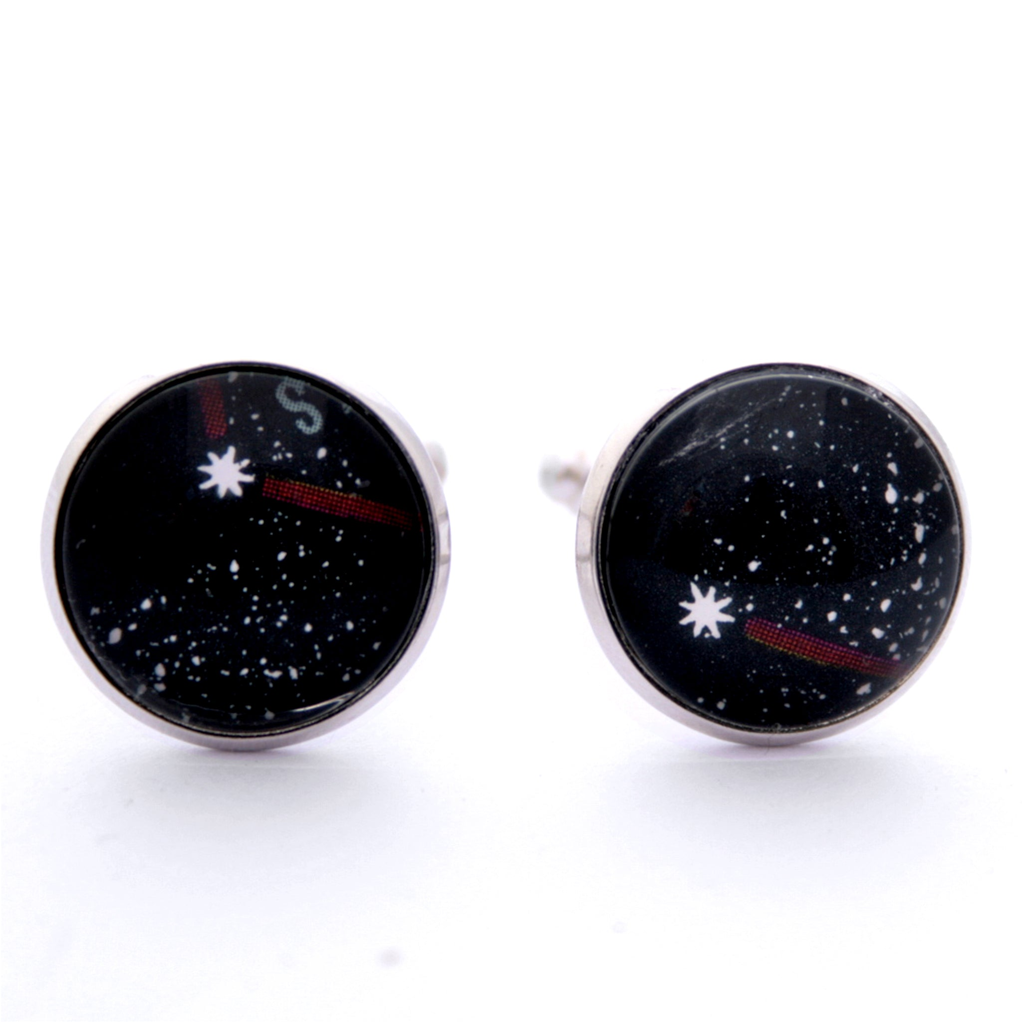 Black cufflinks on silver blanks featuring stars