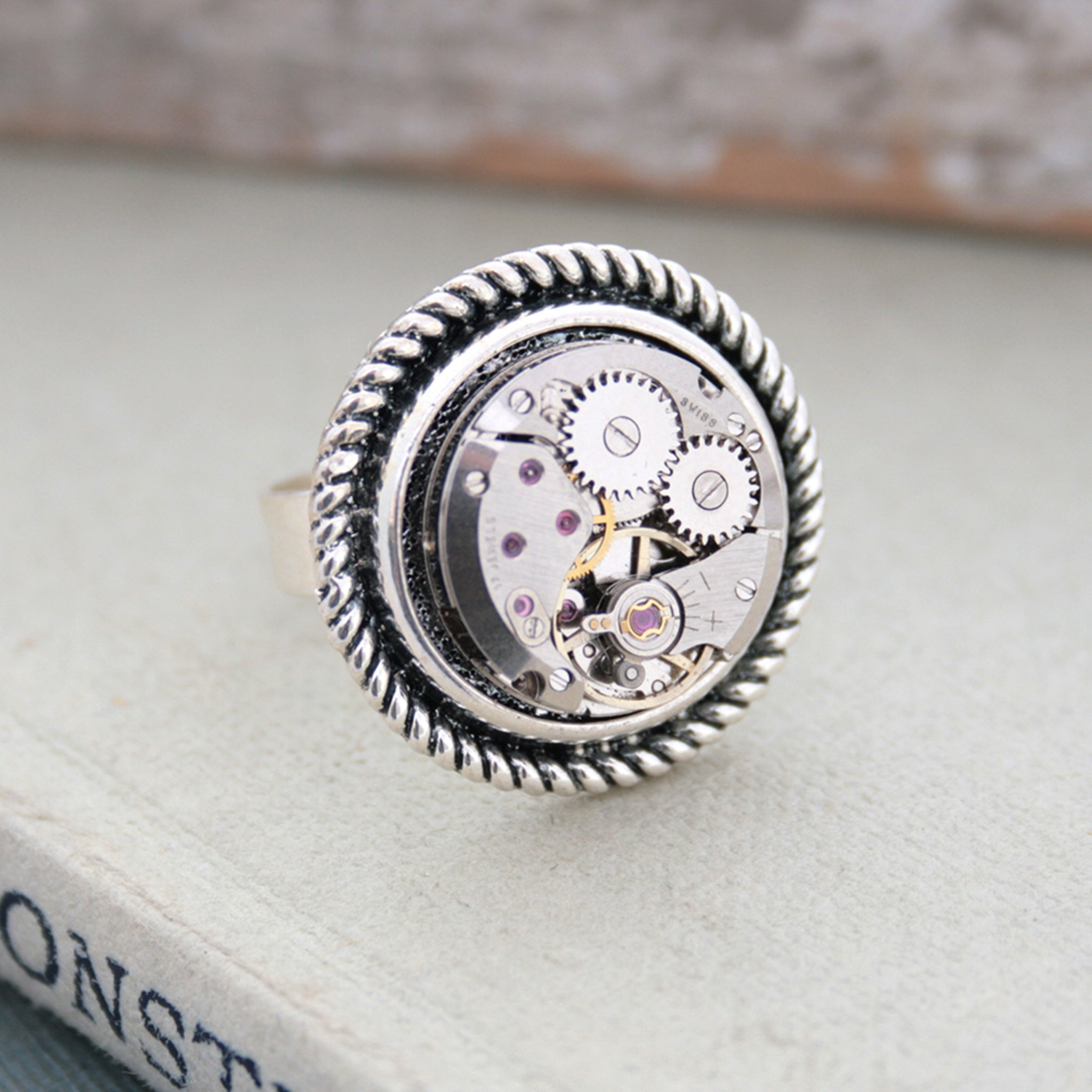 Steampunk Ring for Her made of watch work