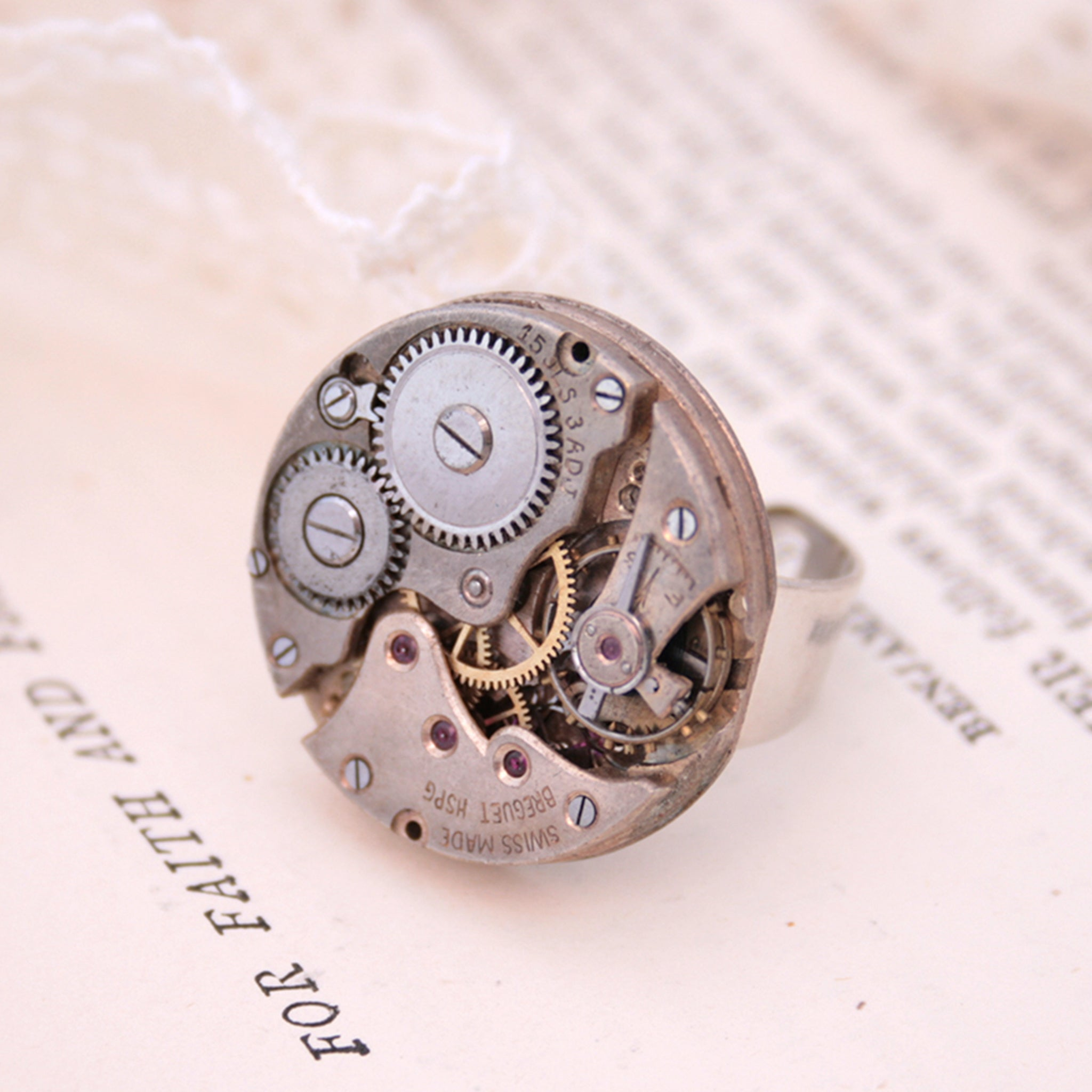 stunning steampunk ring has been made using authentic large wristwatch inside in old silver color.