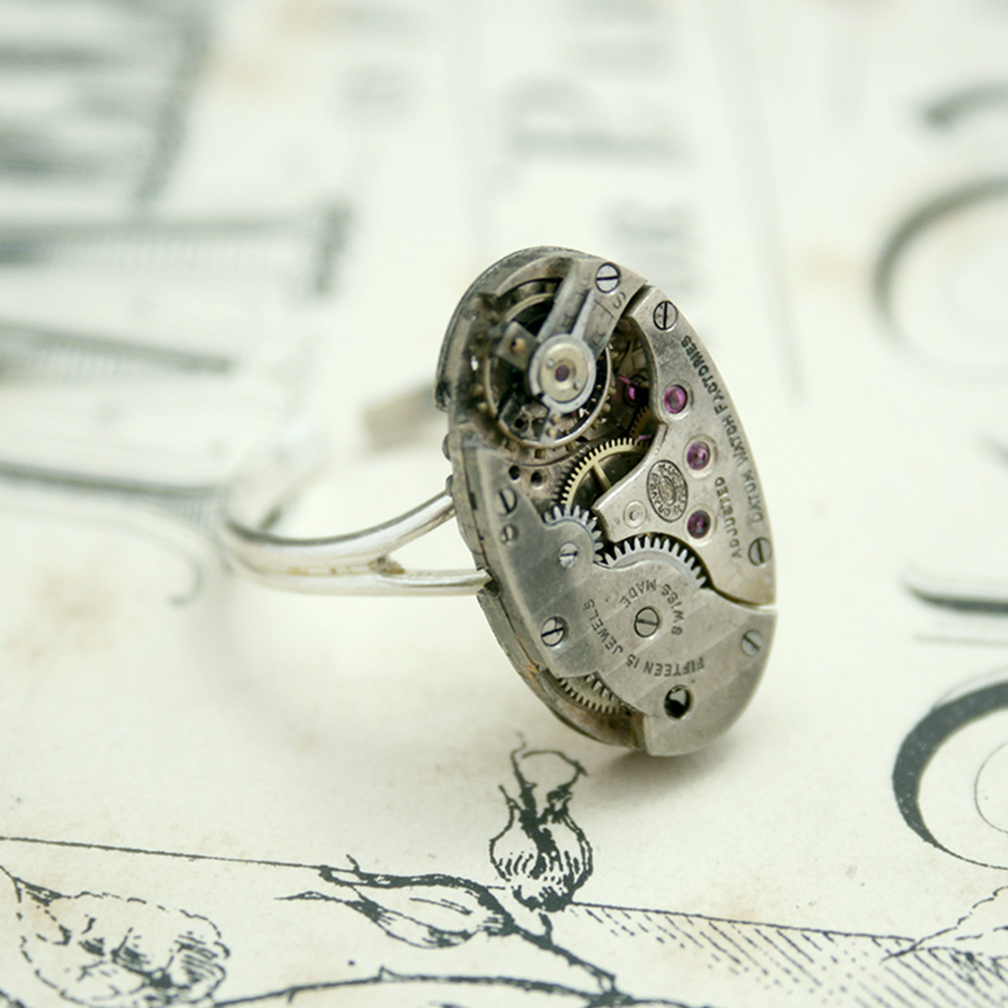 Cocktail Ring with Oval Steampunk Watch on Sterling Silver adjustable band