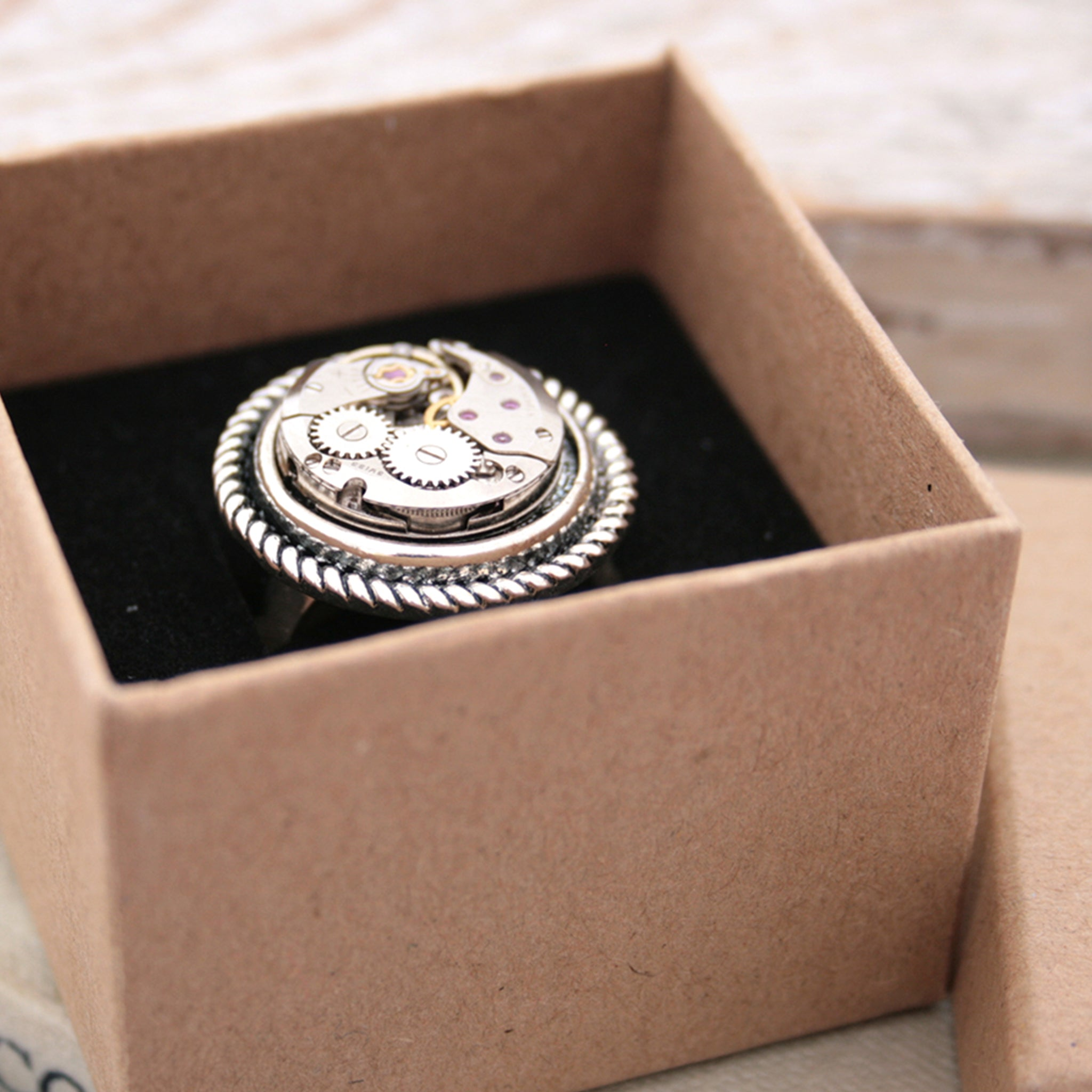 Steampunk Ring for Her made of watch work in a box