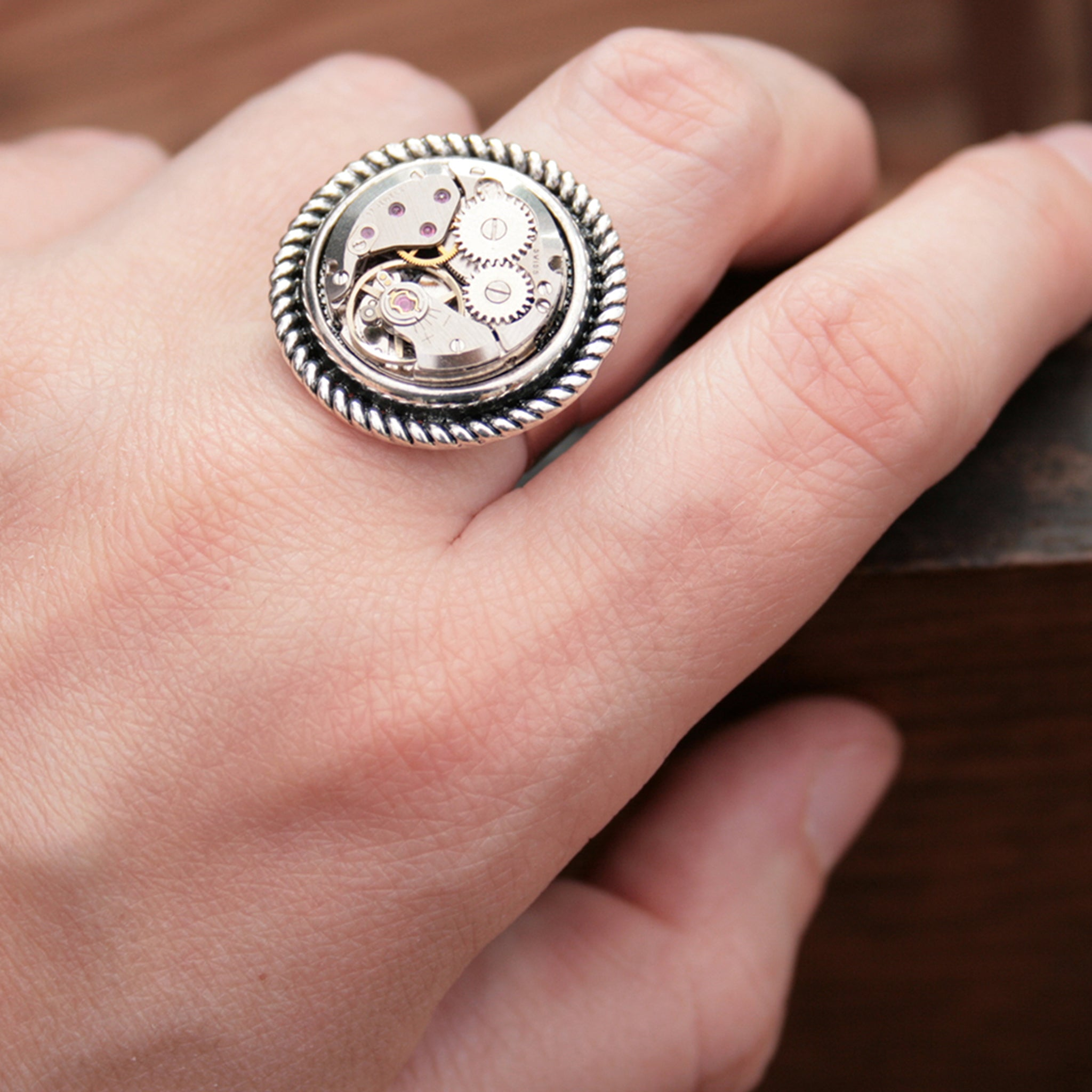 Steampunk Ring for Her made of watch work on hand