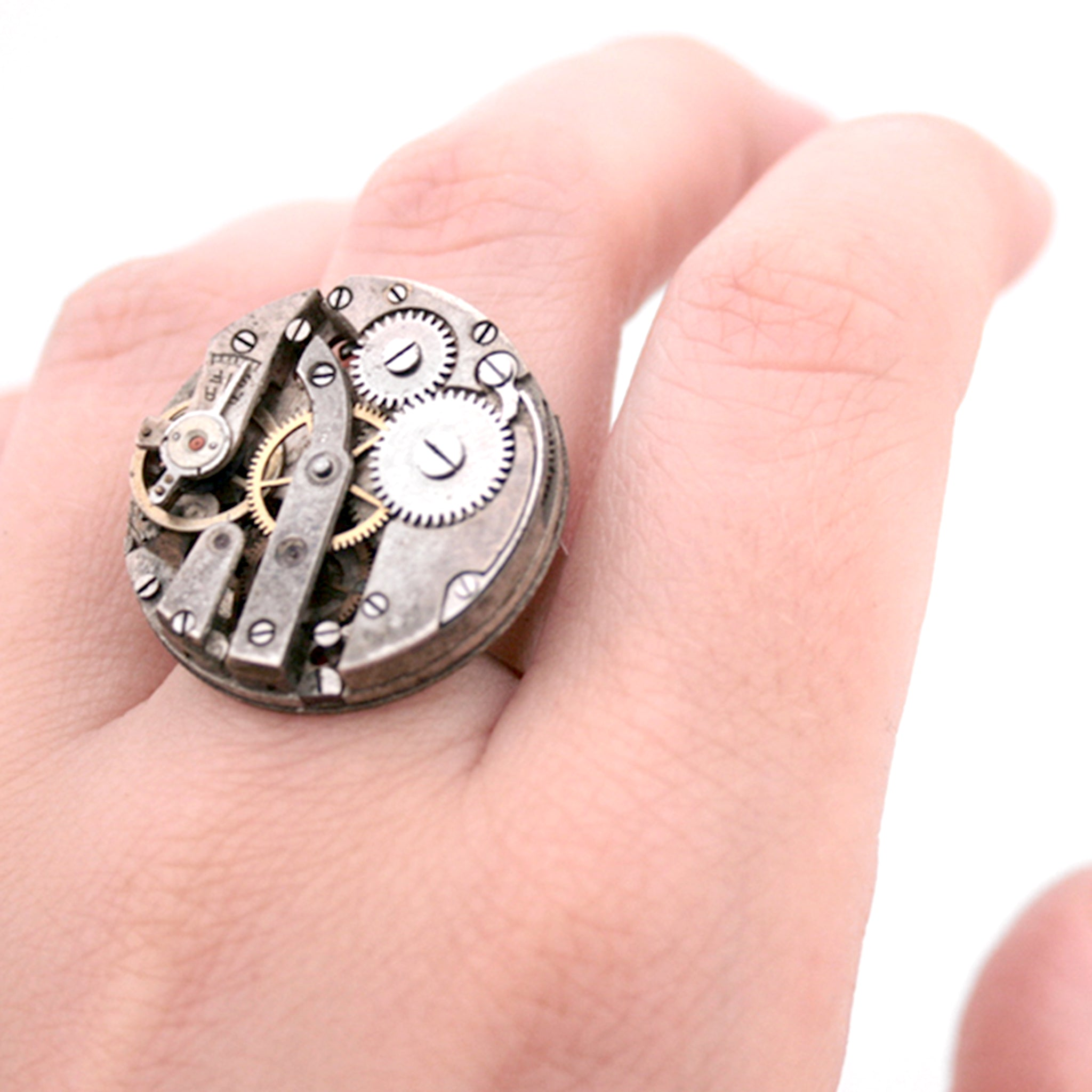 Gothic Ring in Old Silver made of watch mechanism