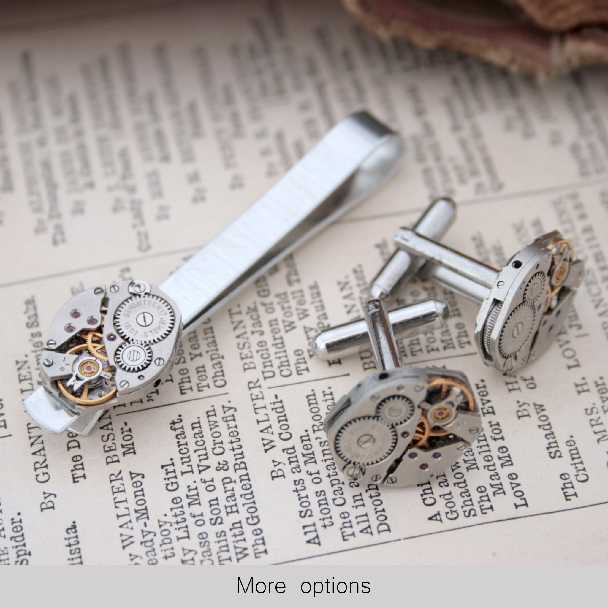 Steam punk tie clip and cufflinks set