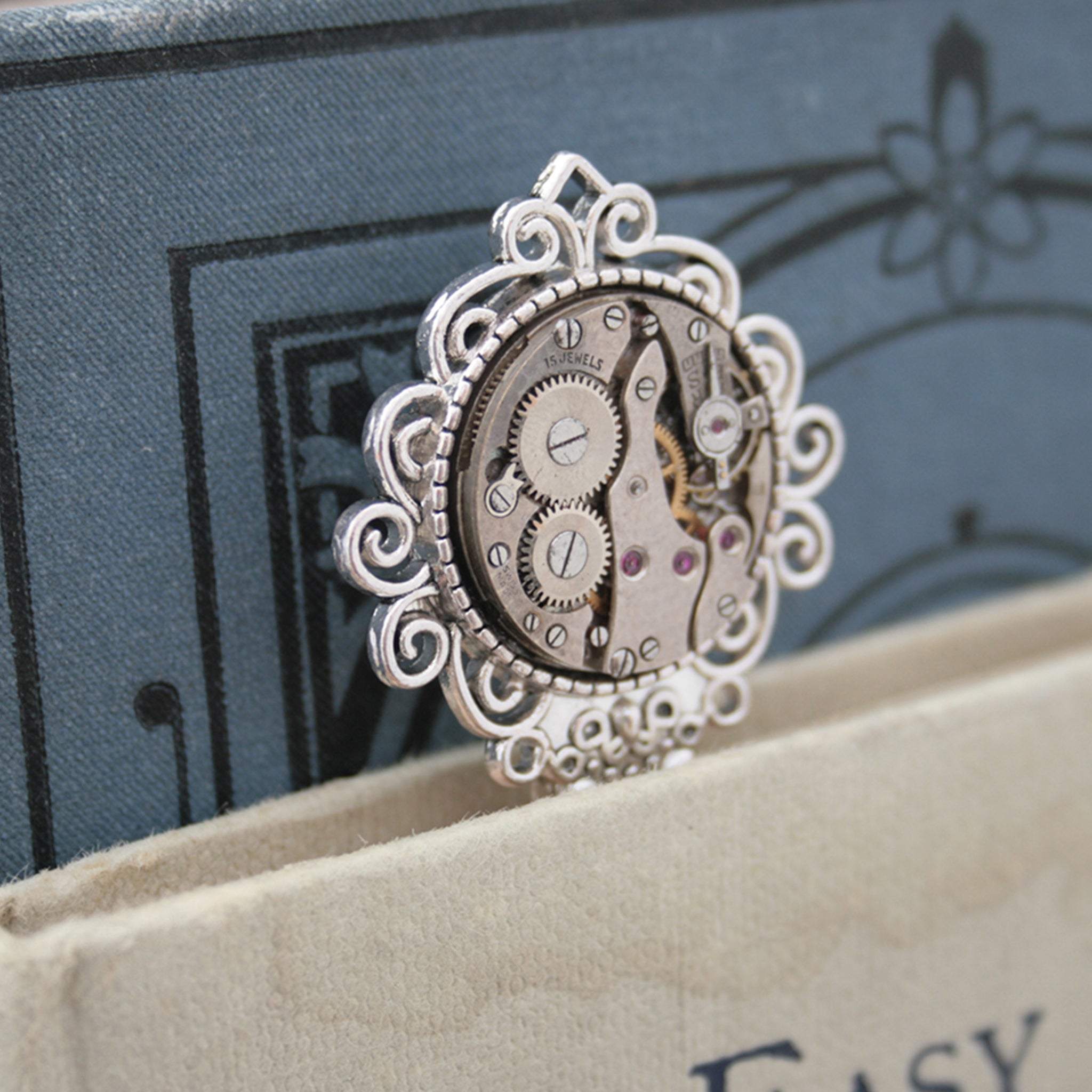 Steampunk Bookmarks for books made of real watch movement