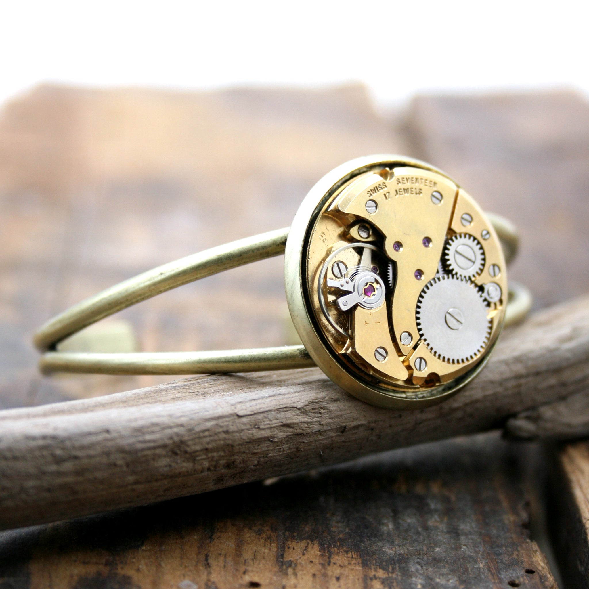 Gold Bangle Bracelet with steampunk watch movement