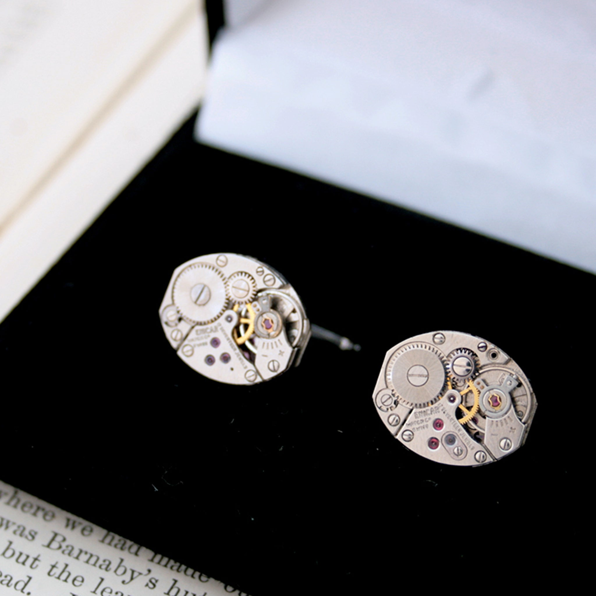 Steampunk Cufflinks in Silver in a box