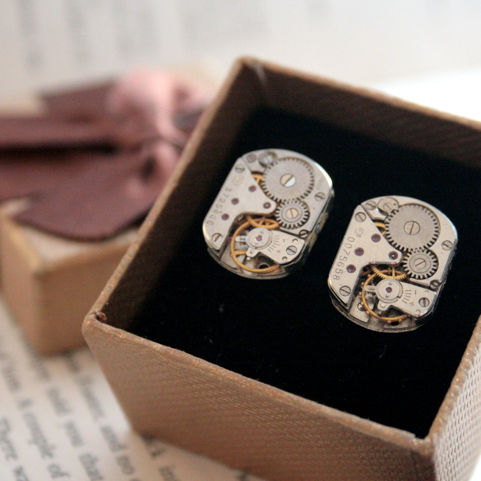 Steampunk Cufflinks featuring antique watch movements in a gift box